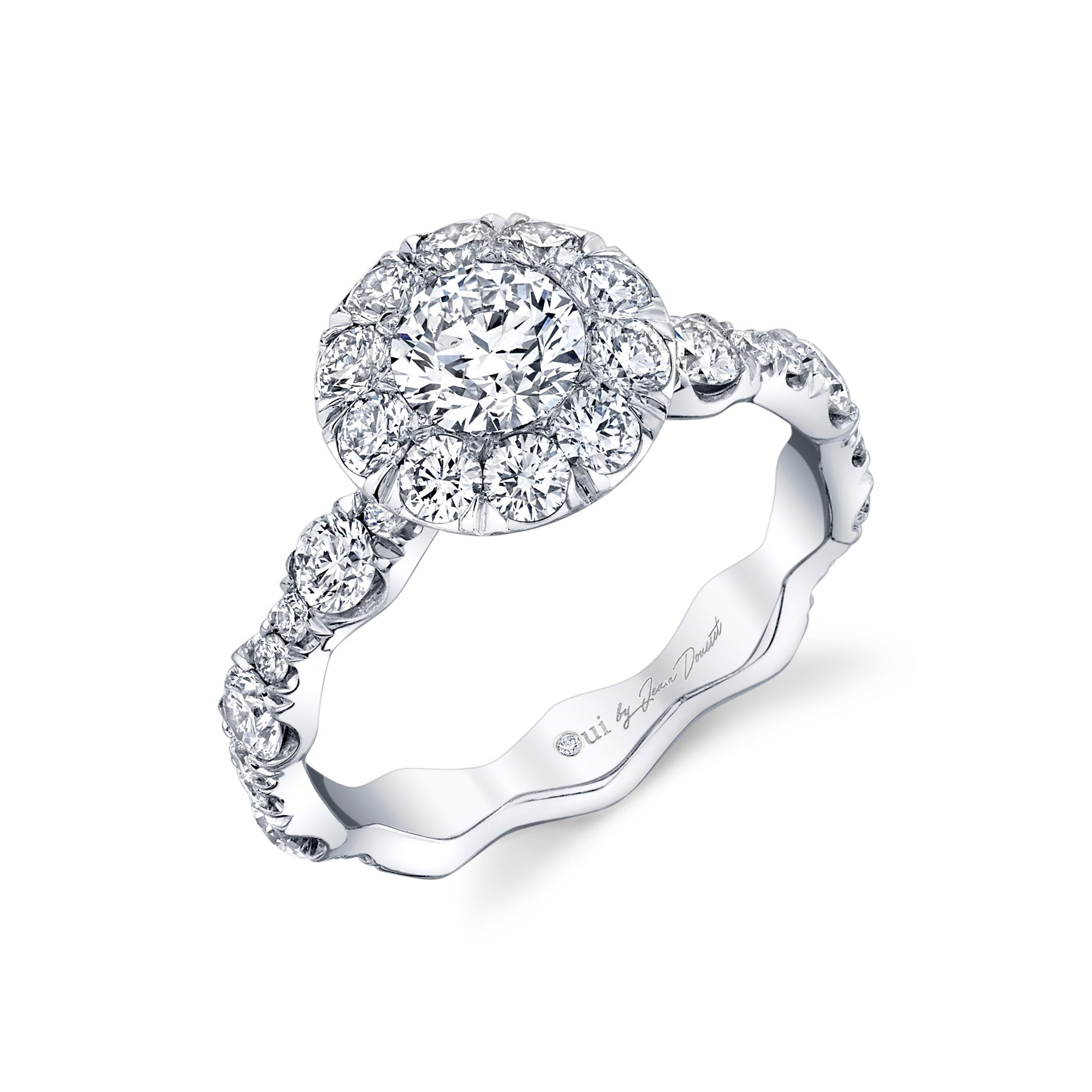 Yvonne Floating Round Brilliant Seamless Solitaire® Engagement Ring 18k White Gold Profile View by Oui by Jean Dousset