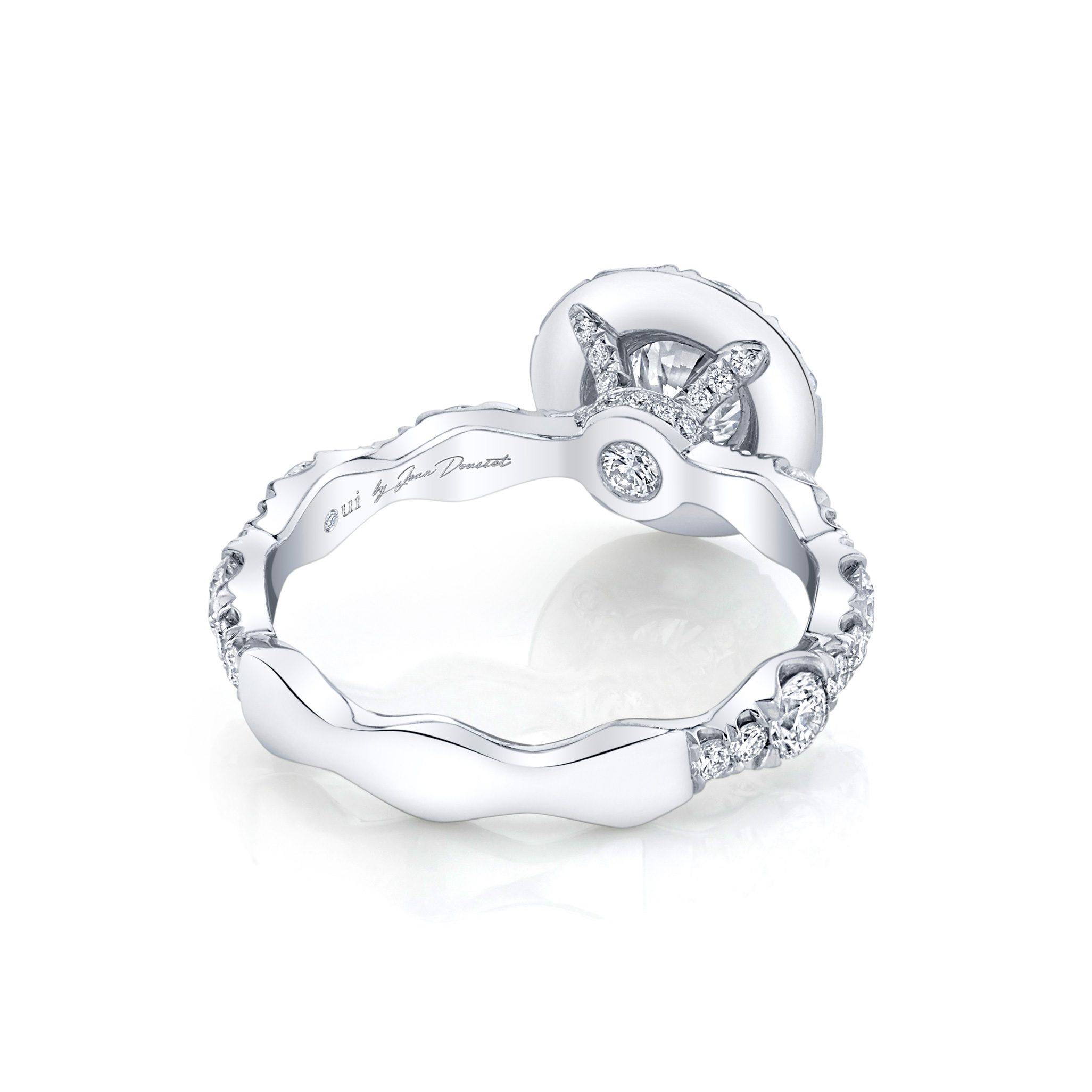 Yvonne Floating Round Brilliant Seamless Solitaire® Engagement Ring 18k White Gold Back View by Oui by Jean Dousset