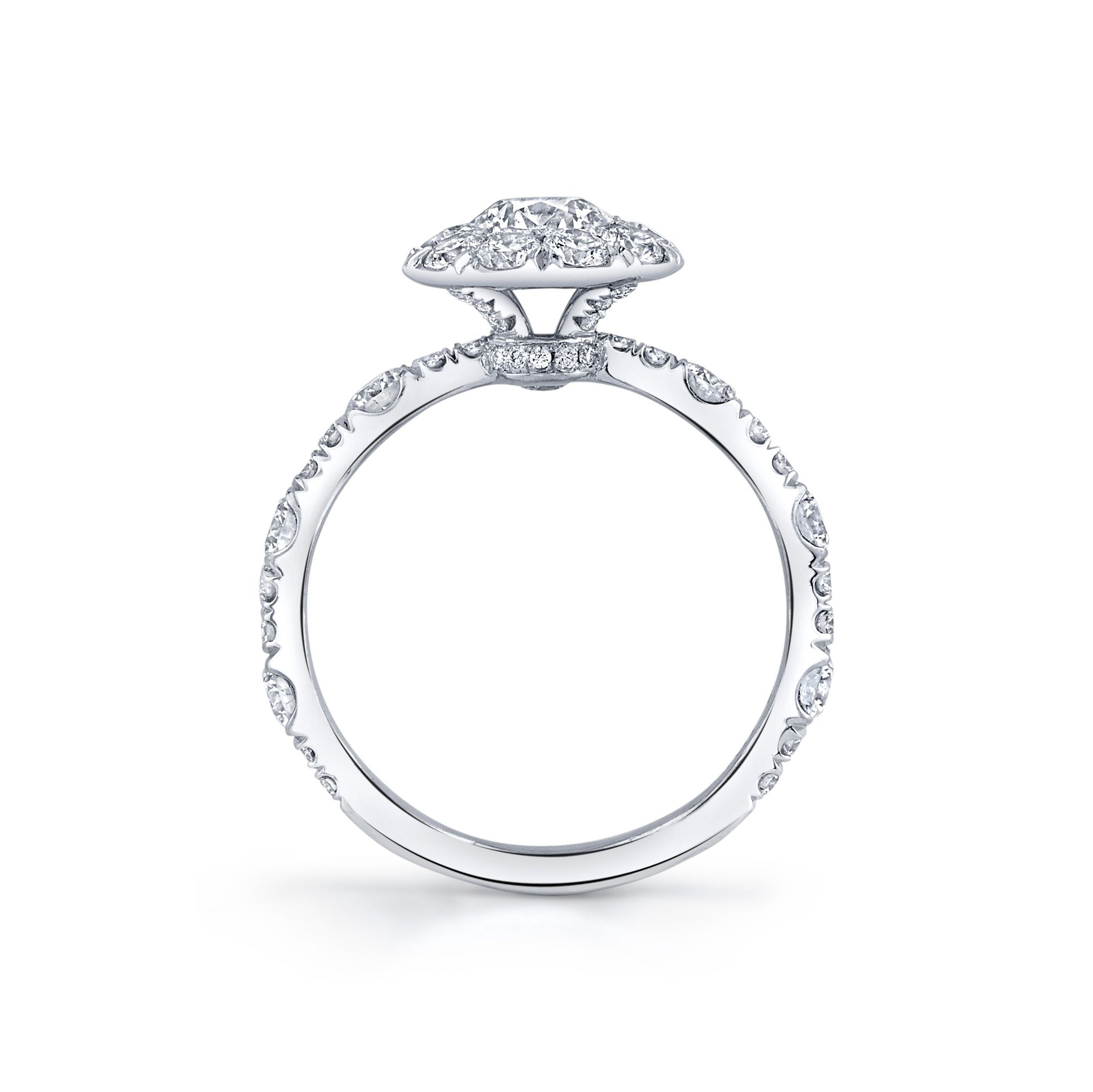 Yvonne Floating Round Brilliant Seamless Solitaire® Engagement Ring 18k White Gold Standing View by Oui by Jean Dousset