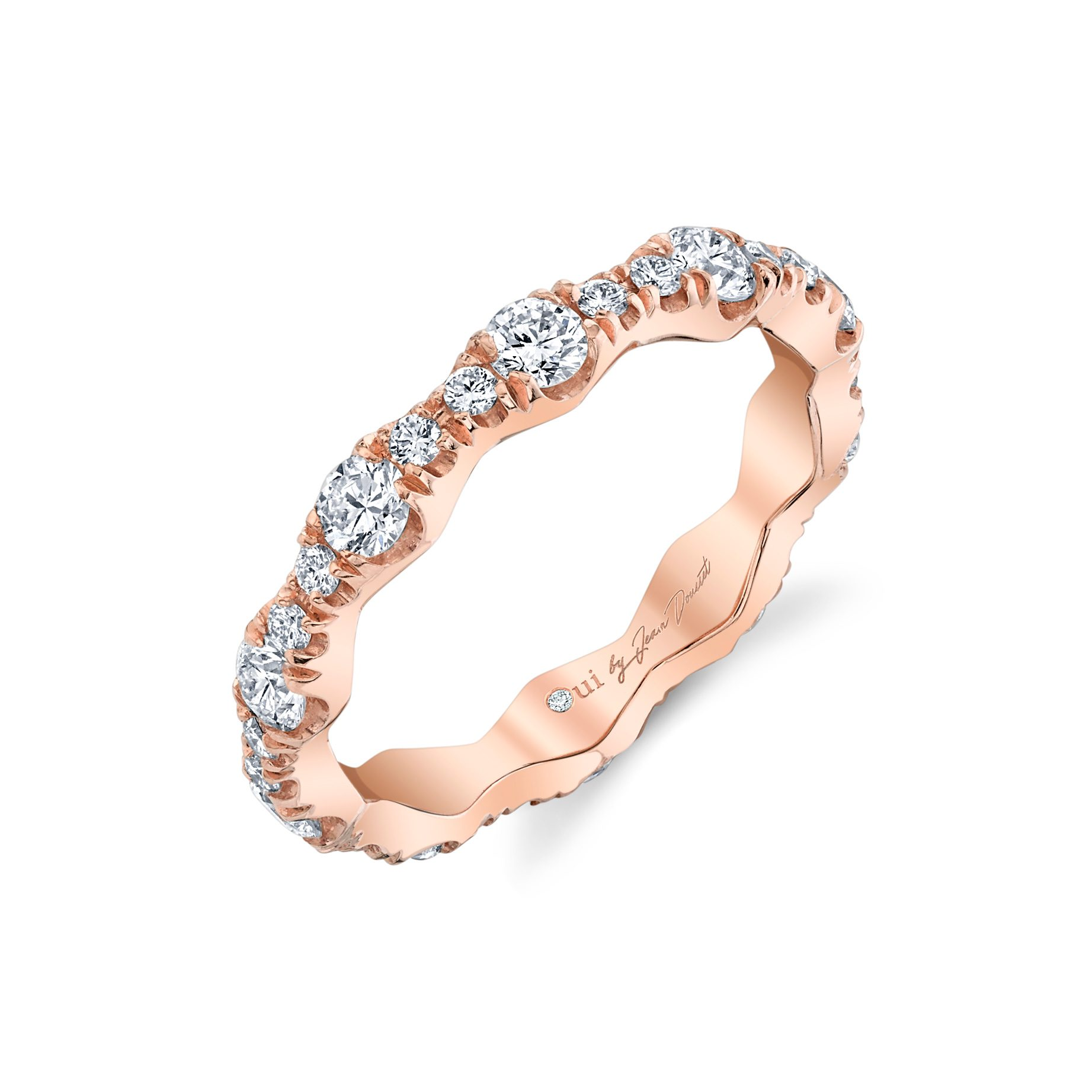 Yvonne Women's Wedding Band 18k Rose Gold Standing View by Oui by Jean Dousset