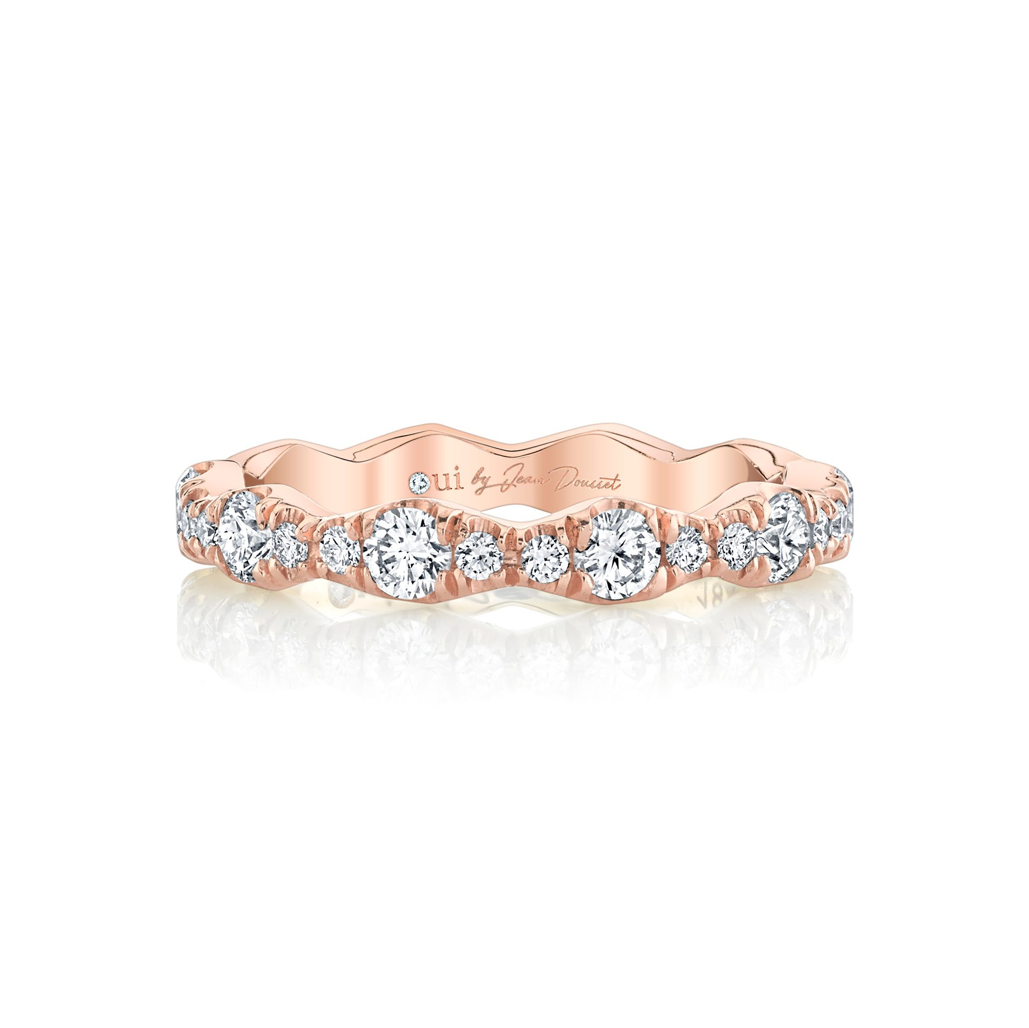 Yvonne Women's Wedding Band 18k Rose Gold Front View by Oui by Jean Dousset