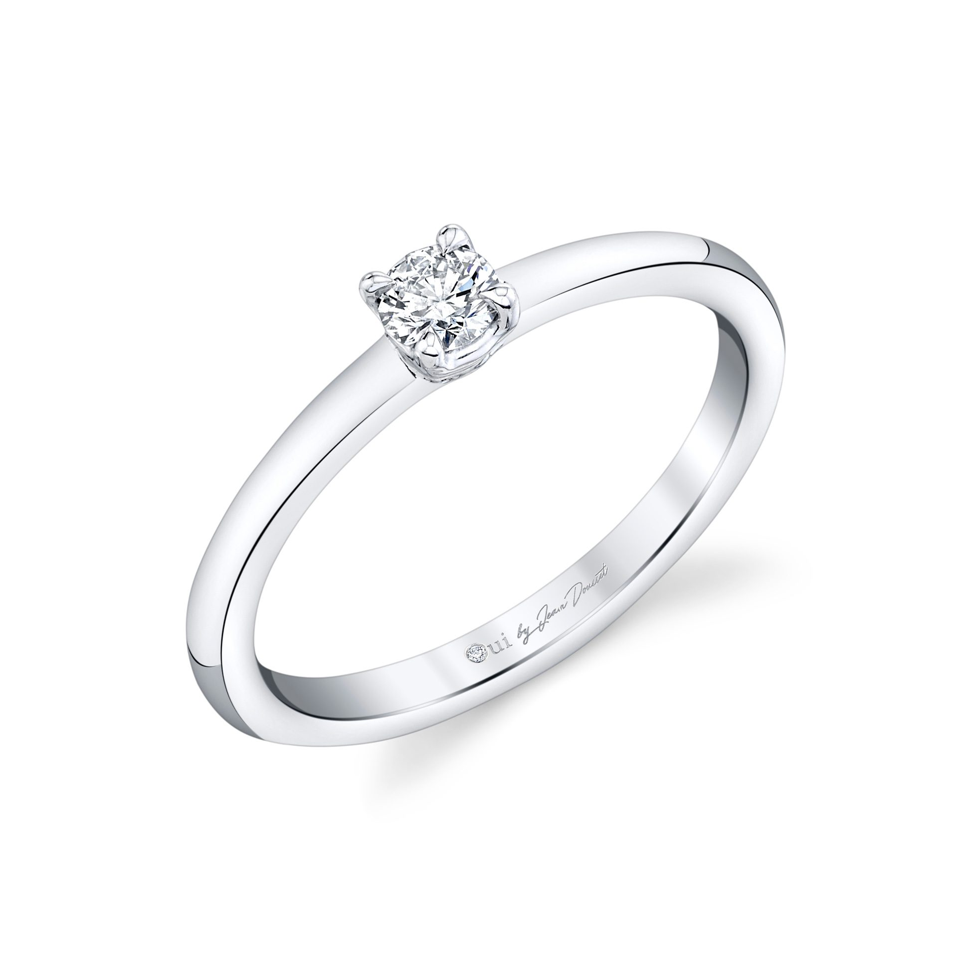 La Petite Round Brilliant Diamond Wedding Band in 18k White Gold Standing View by Oui by Jean Dousset