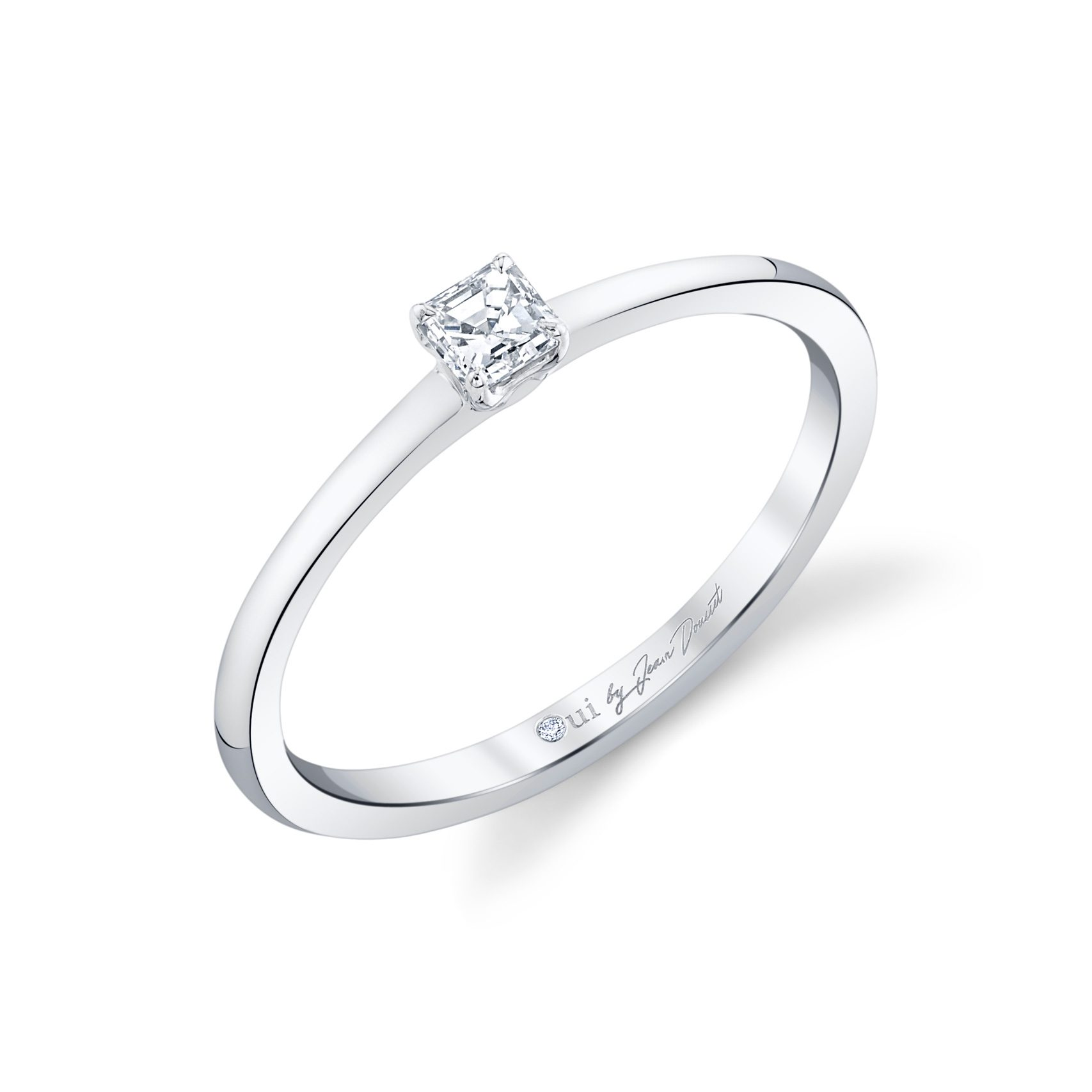 La Petite Asscher Diamond Wedding Band in 18k White Gold Standing View by Oui by Jean Dousset