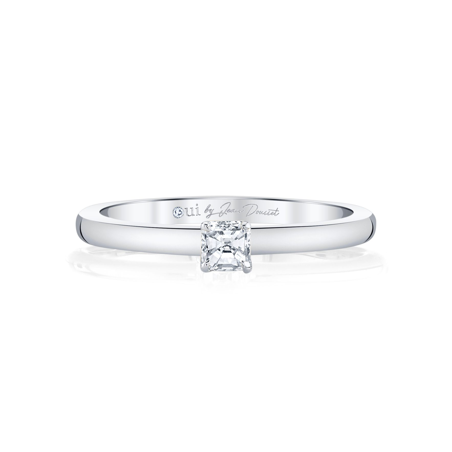 La Petite Asscher Diamond Wedding Band in 18k White Gold Front View by Oui by Jean Dousset