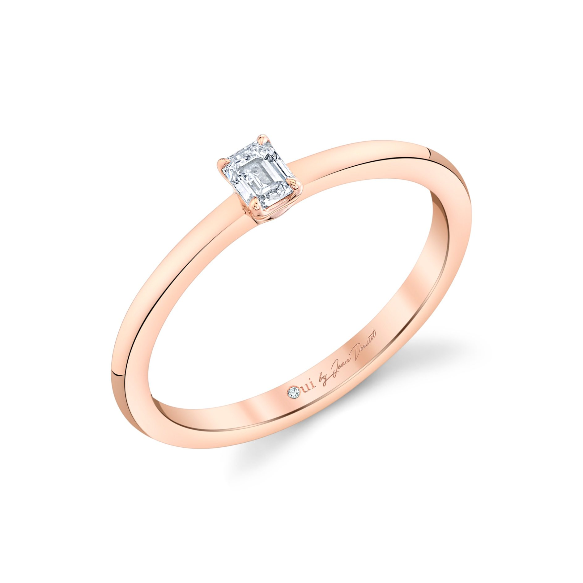 La Petite Emerald Diamond Wedding Band in 18k Rose Gold Standing View by Oui by Jean Dousset