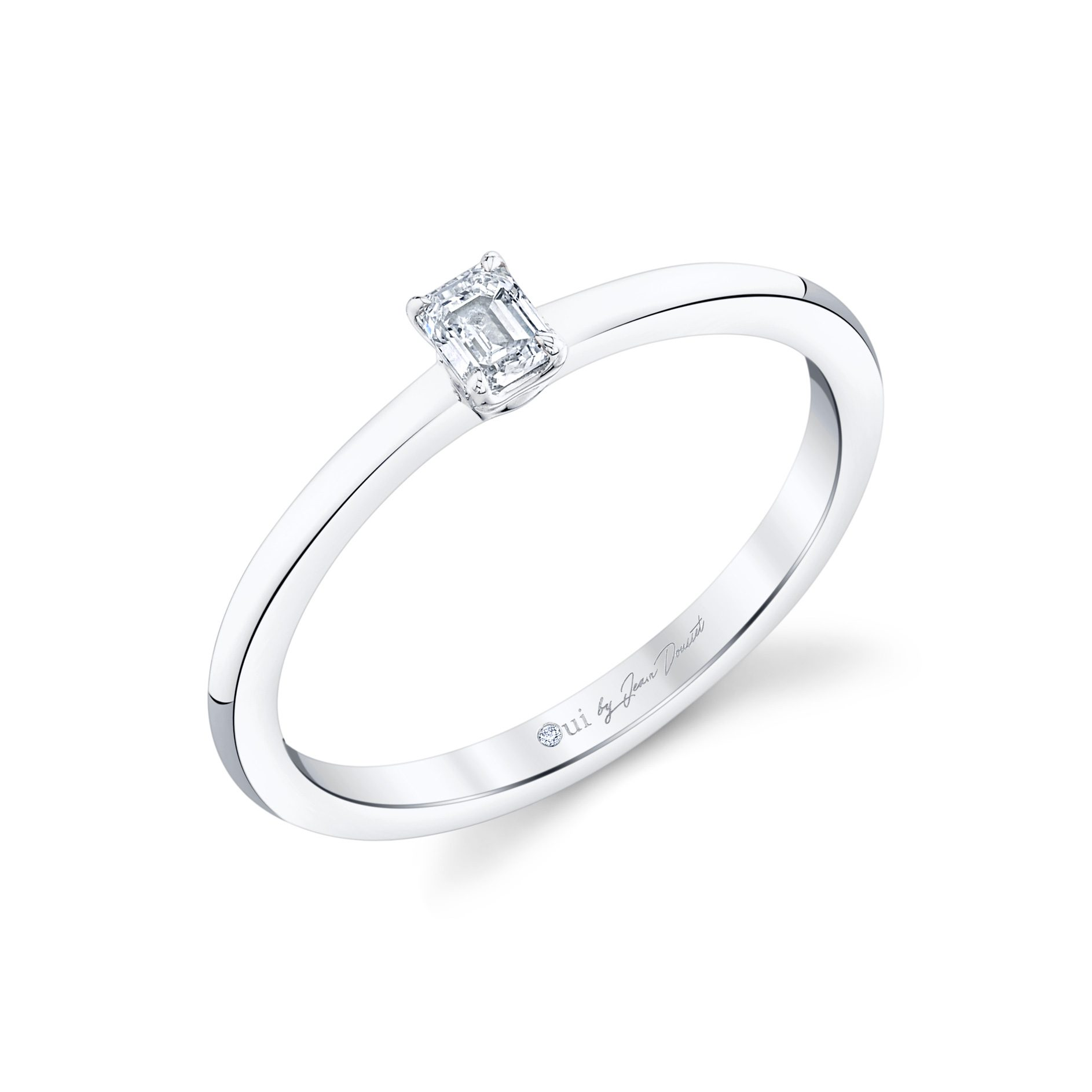 La Petite Emerald Diamond Wedding Band in 18k White Gold Standing View by Oui by Jean Dousset