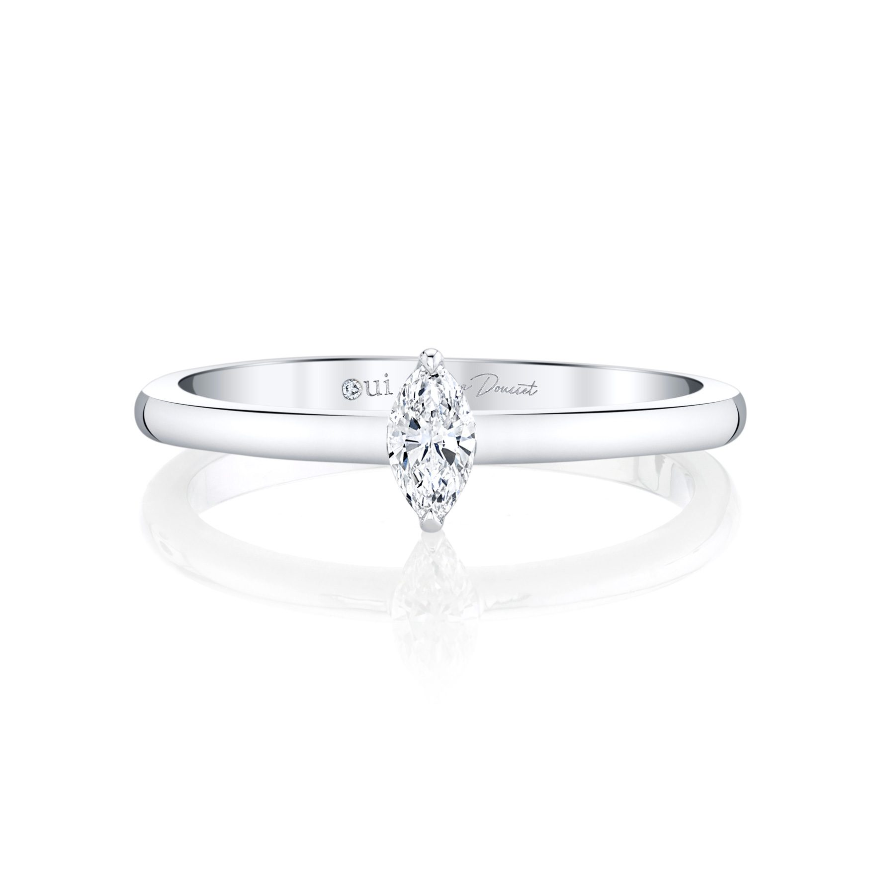 La Petite Marquise Diamond Wedding Band in Platinum Front View by Oui by Jean Dousset