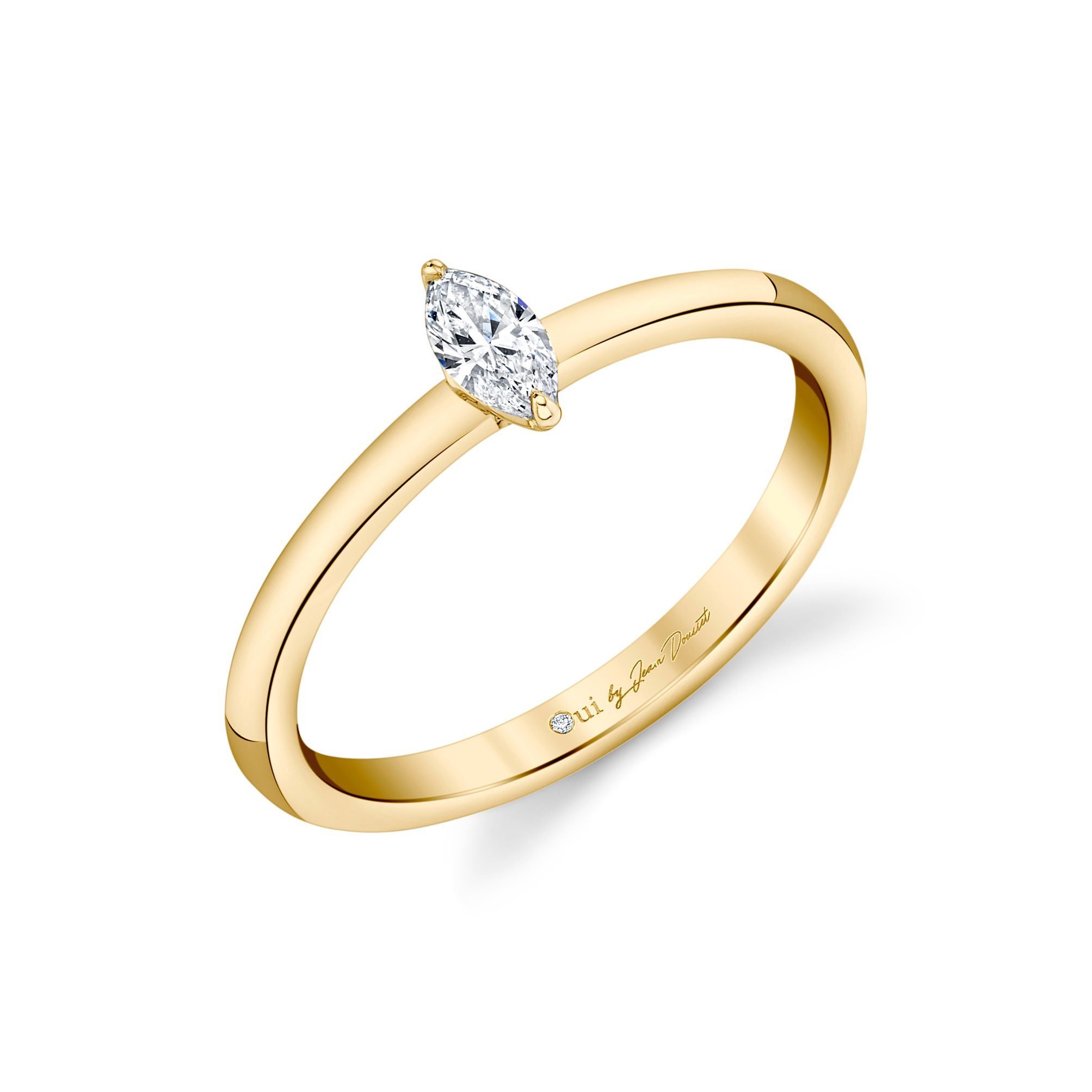 La Petite Marquise Diamond Wedding Band in 18k Yellow Gold Standing View by Oui by Jean Dousset