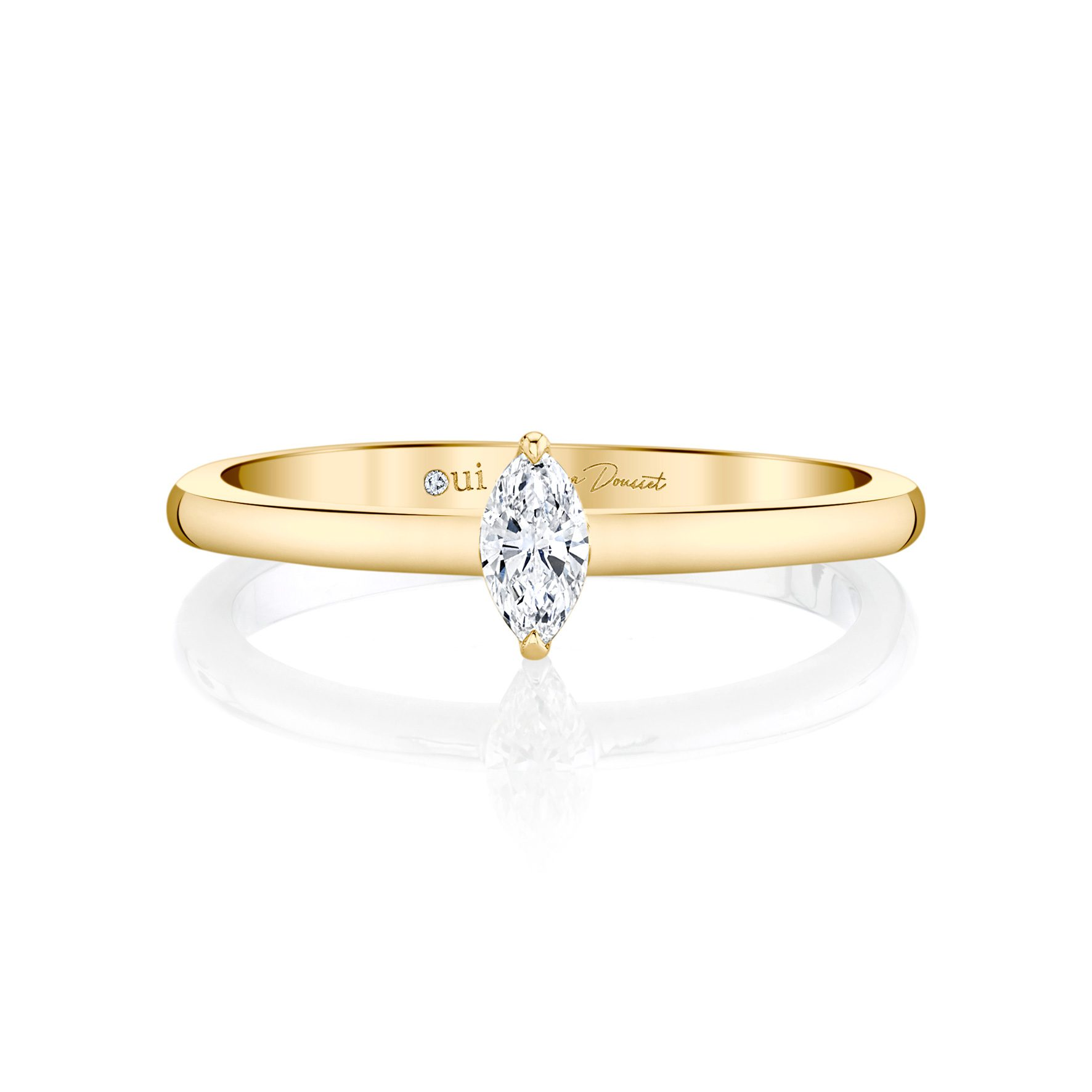 La Petite Marquise Diamond Wedding Band in 18k Yellow Gold Front View by Oui by Jean Dousset