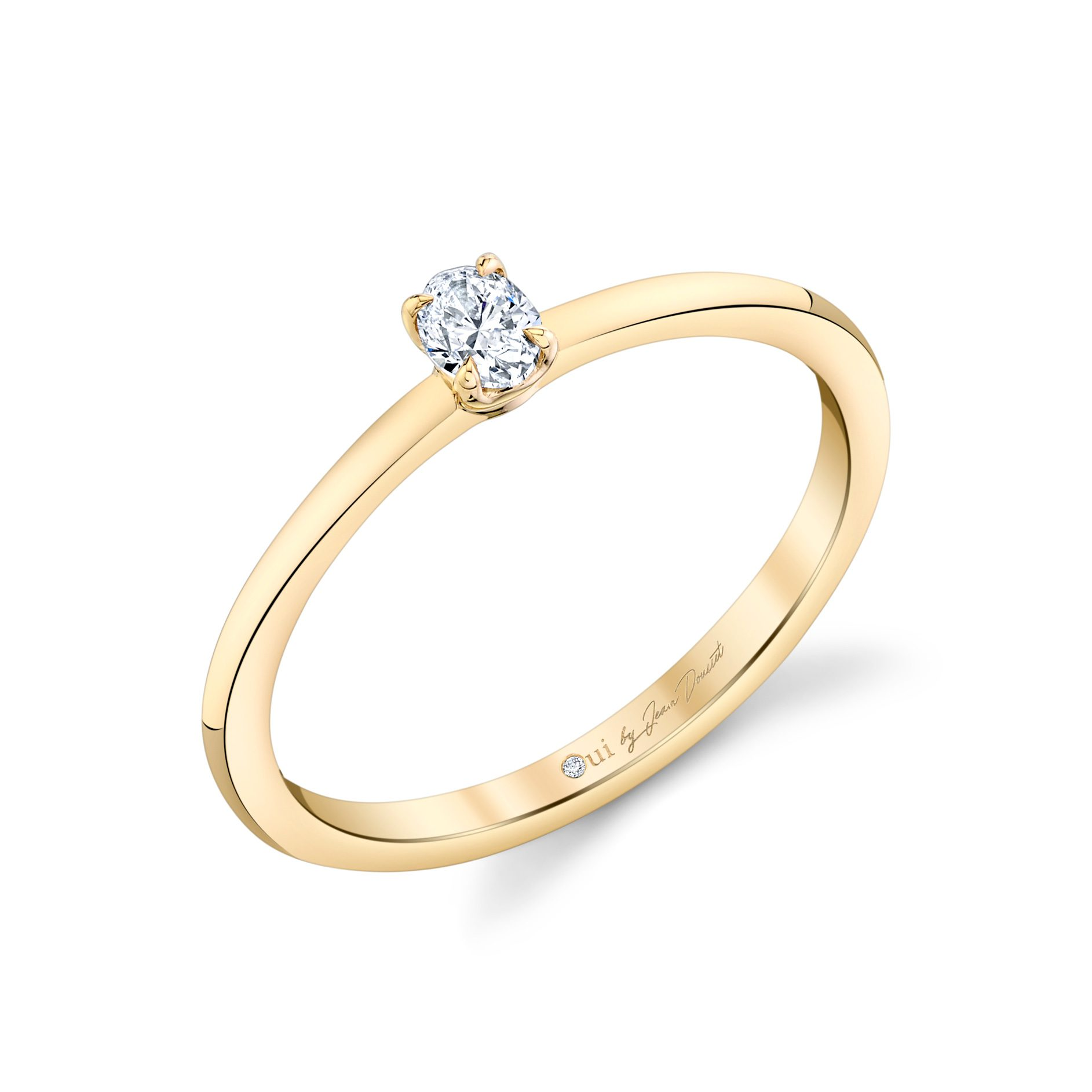 La Petite Oval Diamond Wedding Band in 18k Yellow Gold Standing View by Oui by Jean Dousset