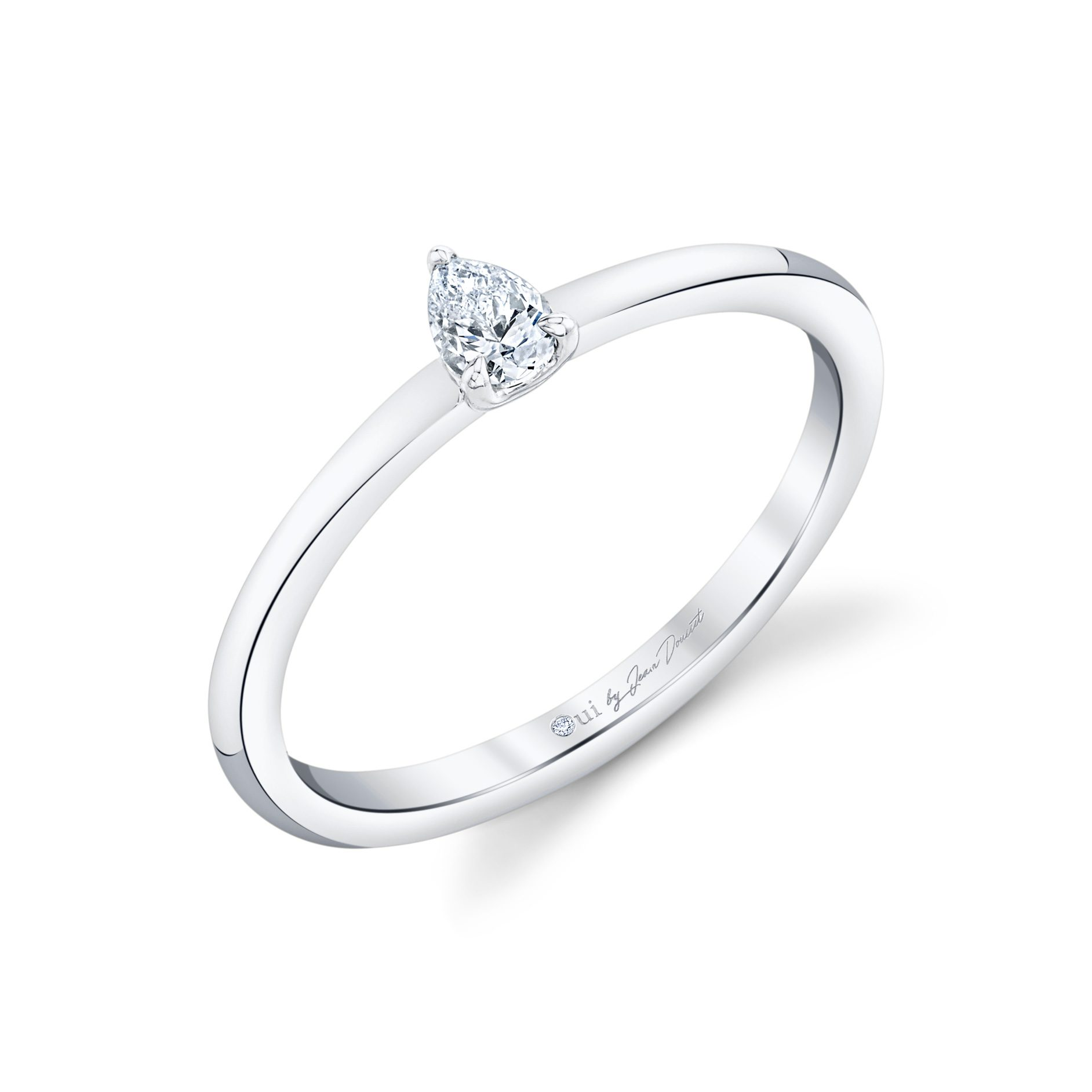 La Petite Pear Diamond Wedding Band in 18k White Gold Standing View by Oui by Jean Dousset