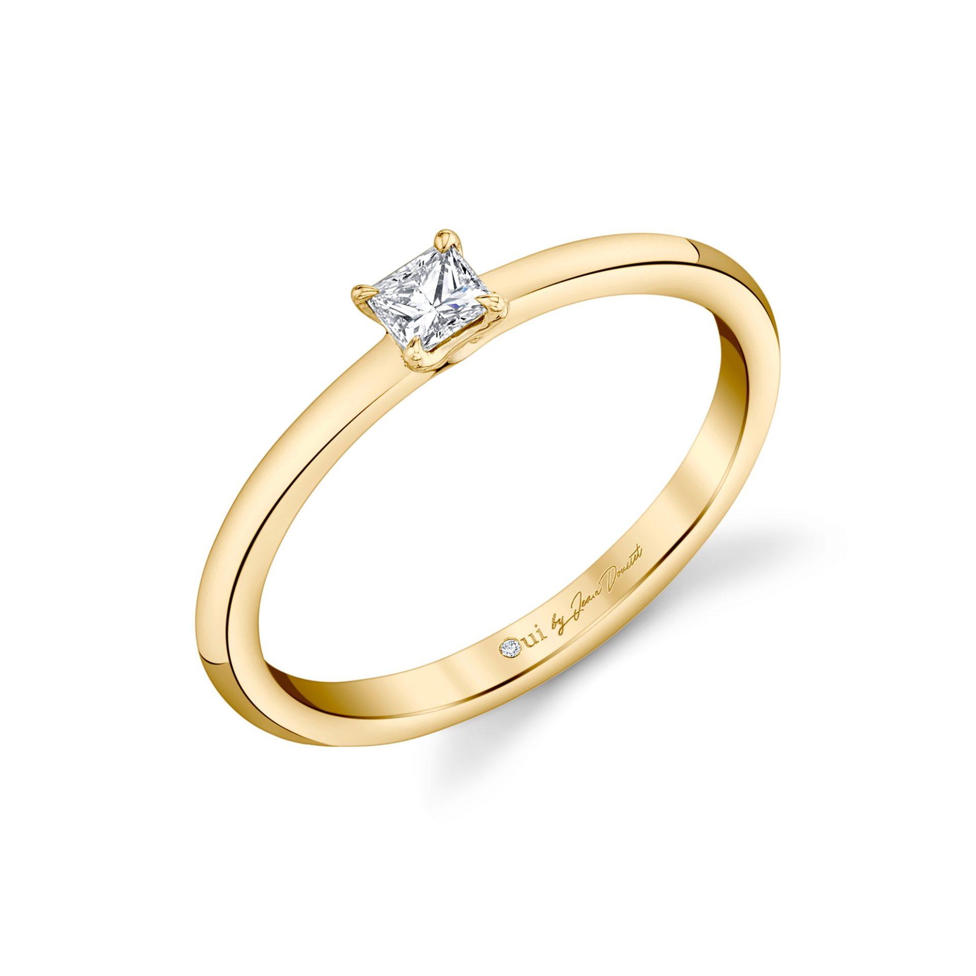 La Petite Princess Diamond Wedding Band in 18k Yellow Gold Standing View by Oui by Jean Dousset