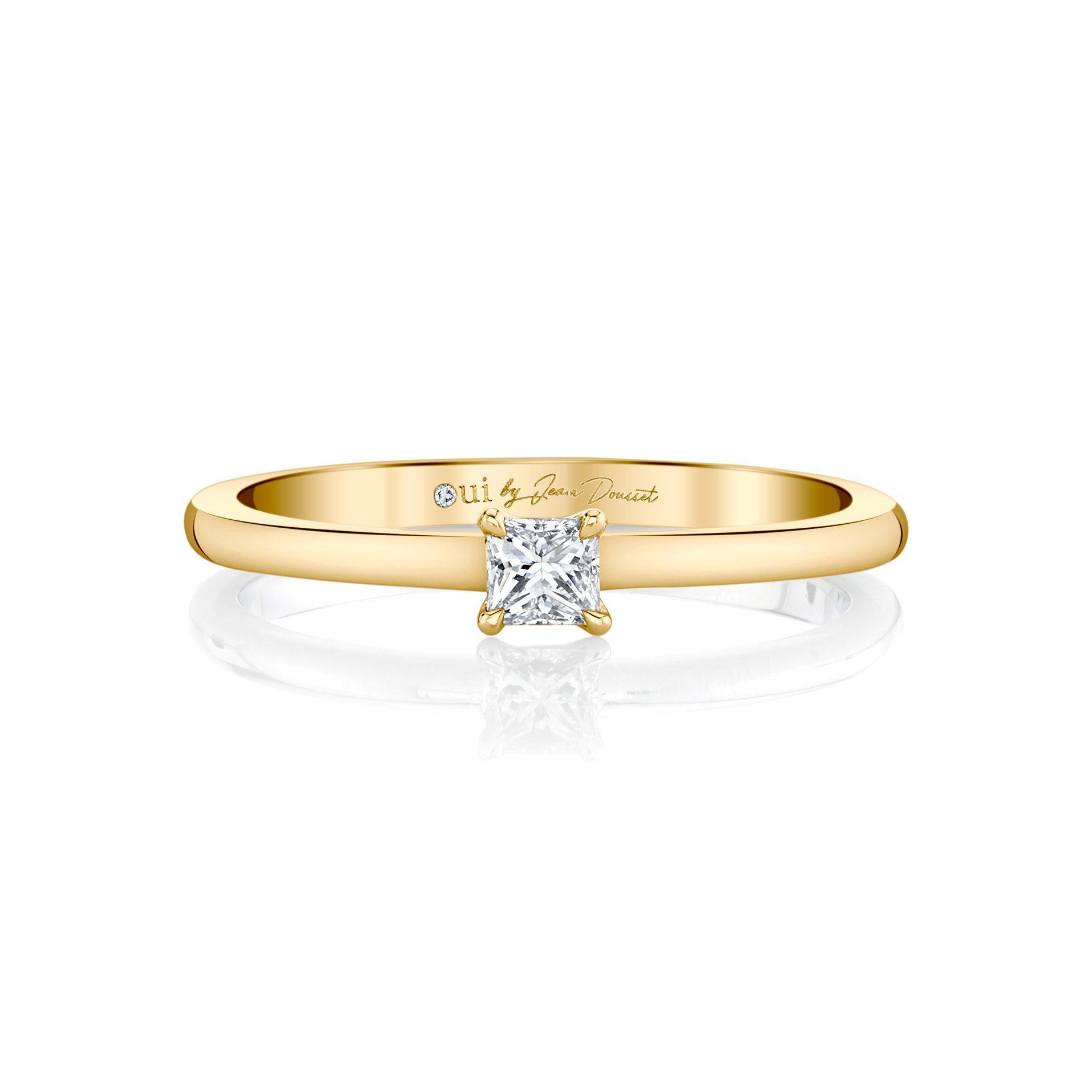La Petite Princess Diamond Wedding Band in 18k Yellow Gold Front View by Oui by Jean Dousset