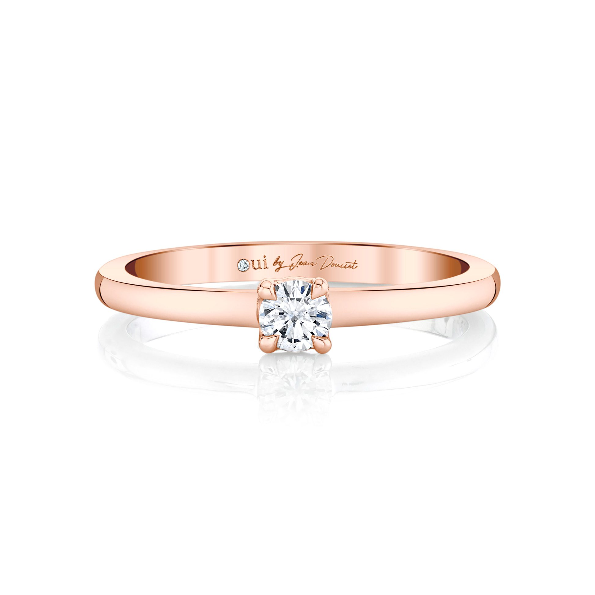 La Petite Round Brilliant Diamond Wedding Band in 18k Rose Gold Front View by Oui by Jean Dousset