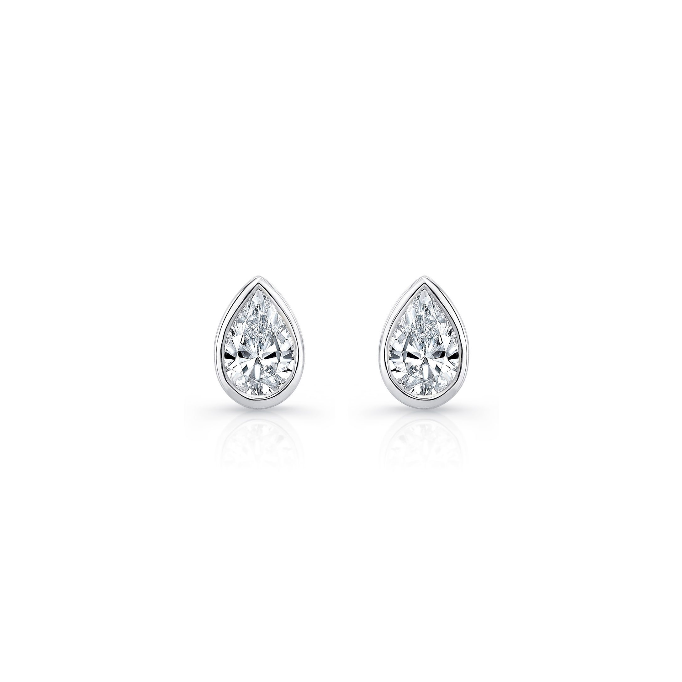 La Petite Pear Bezel Diamond Stud Earrings in 18k White Gold Front View by Oui by Jean Dousset