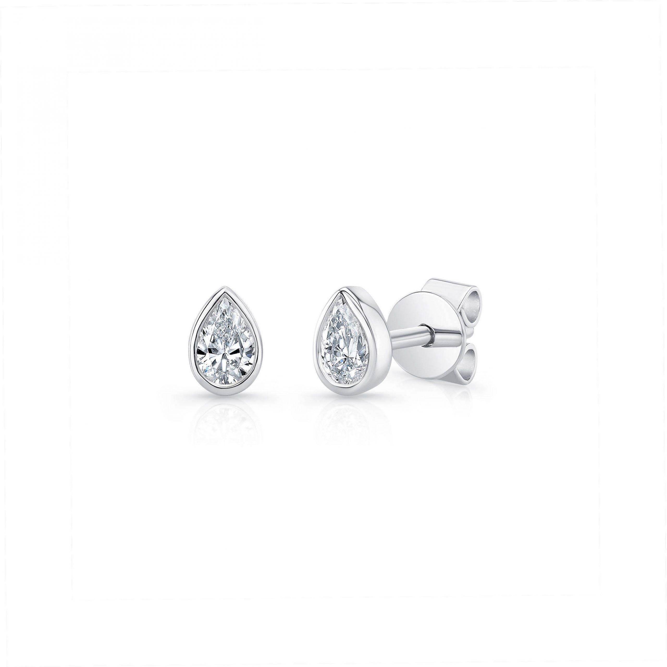 La Petite Pear Bezel Diamond Stud Earrings in 18k White Gold Side View by Oui by Jean Dousset
