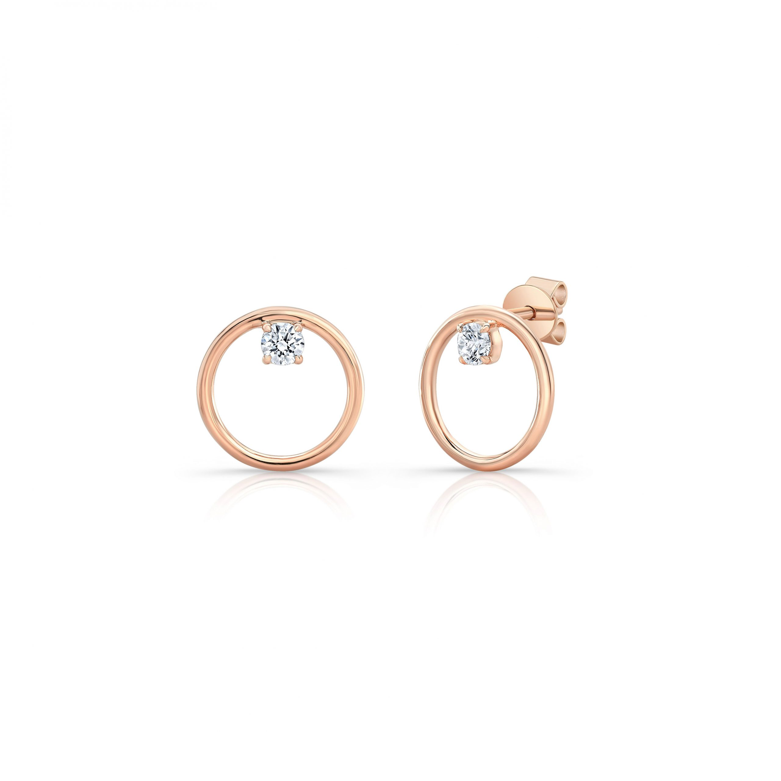 Colette Front Facing Diamond Hoop Earrings in 18k Rose Gold Side View by Oui by Jean Dousset
