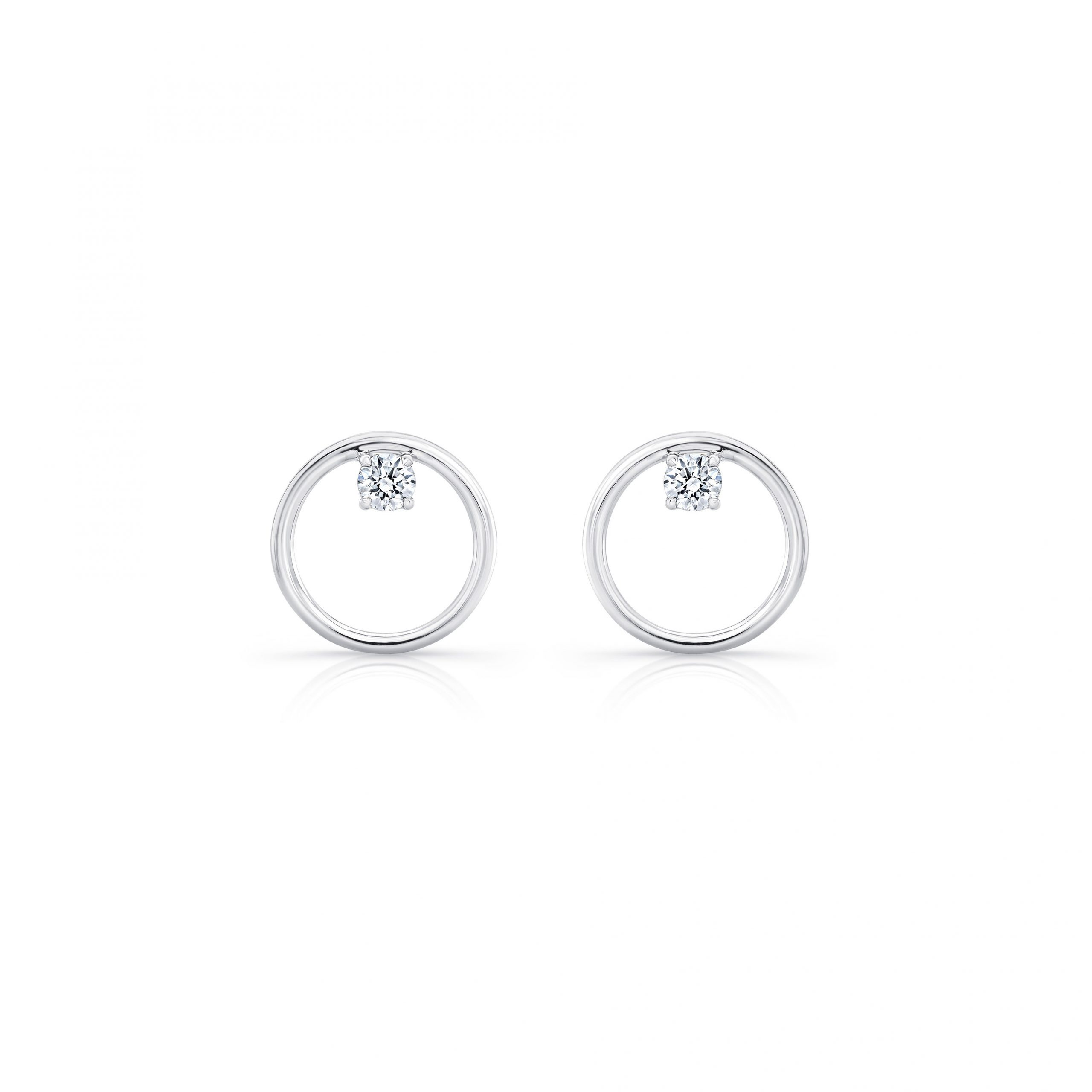 Colette Front Facing Diamond Hoop Earrings in 18k White Gold Front View by Oui by Jean Dousset