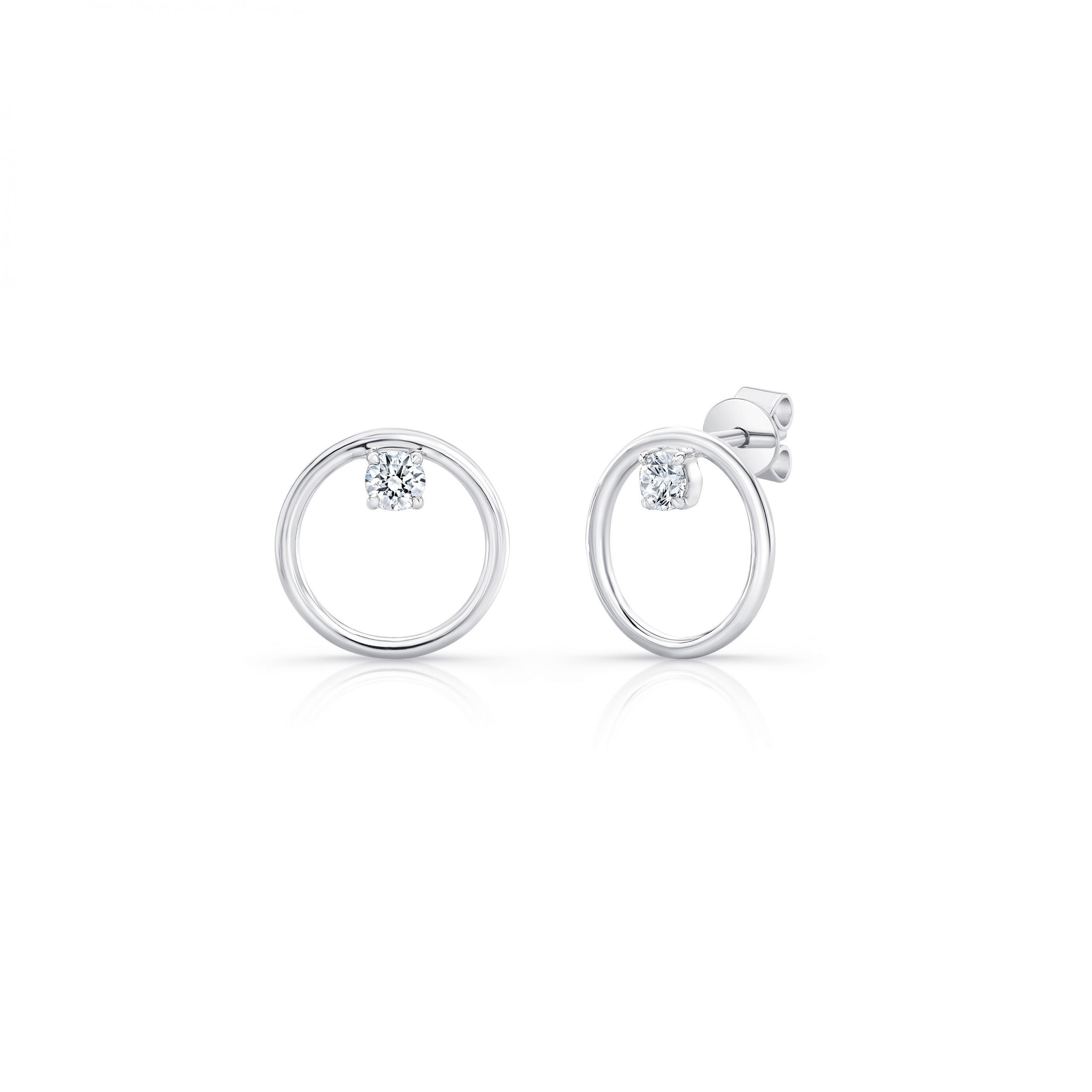 Colette Front Facing Diamond Hoop Earrings in 18k White Gold Side View by Oui by Jean Dousset