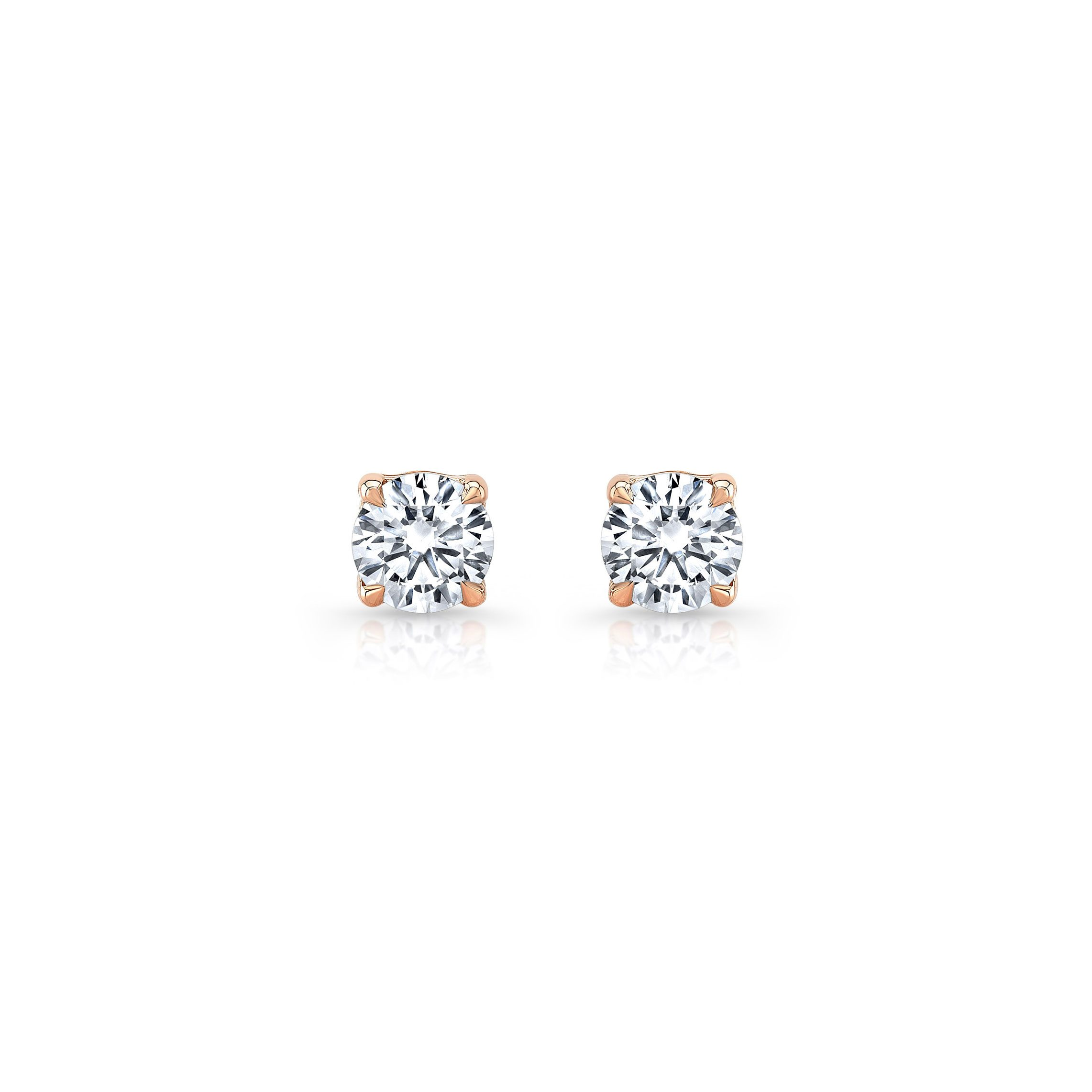 La Petite Round Brilliant Diamond Stud Earrings in 18k Rose Gold Front View by Oui by Jean Dousset