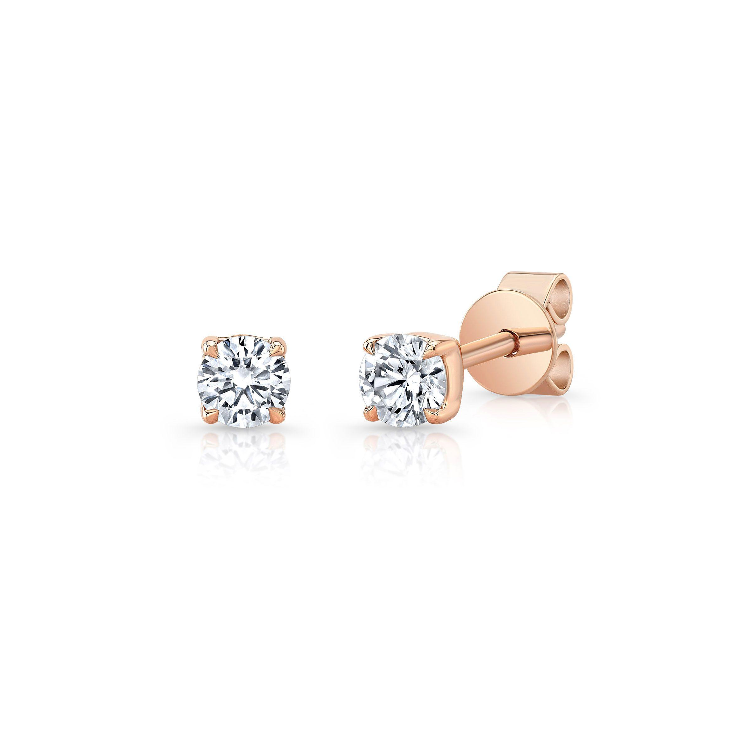 La Petite Round Brilliant Diamond Stud Earrings in 18k Rose Gold Side View by Oui by Jean Dousset