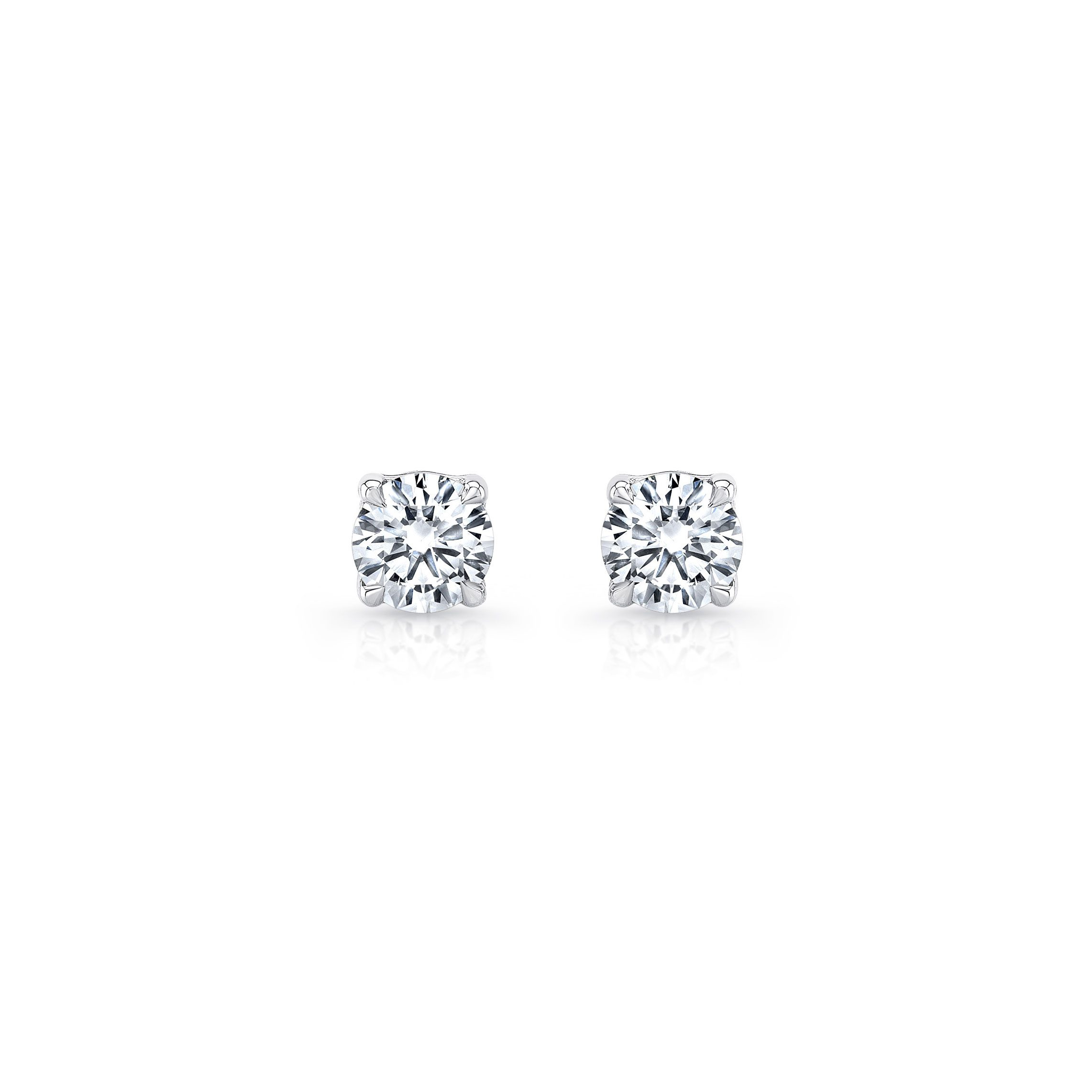 La Petite Round Brilliant Diamond Stud Earrings in 18k White Gold Front View by Oui by Jean Dousset