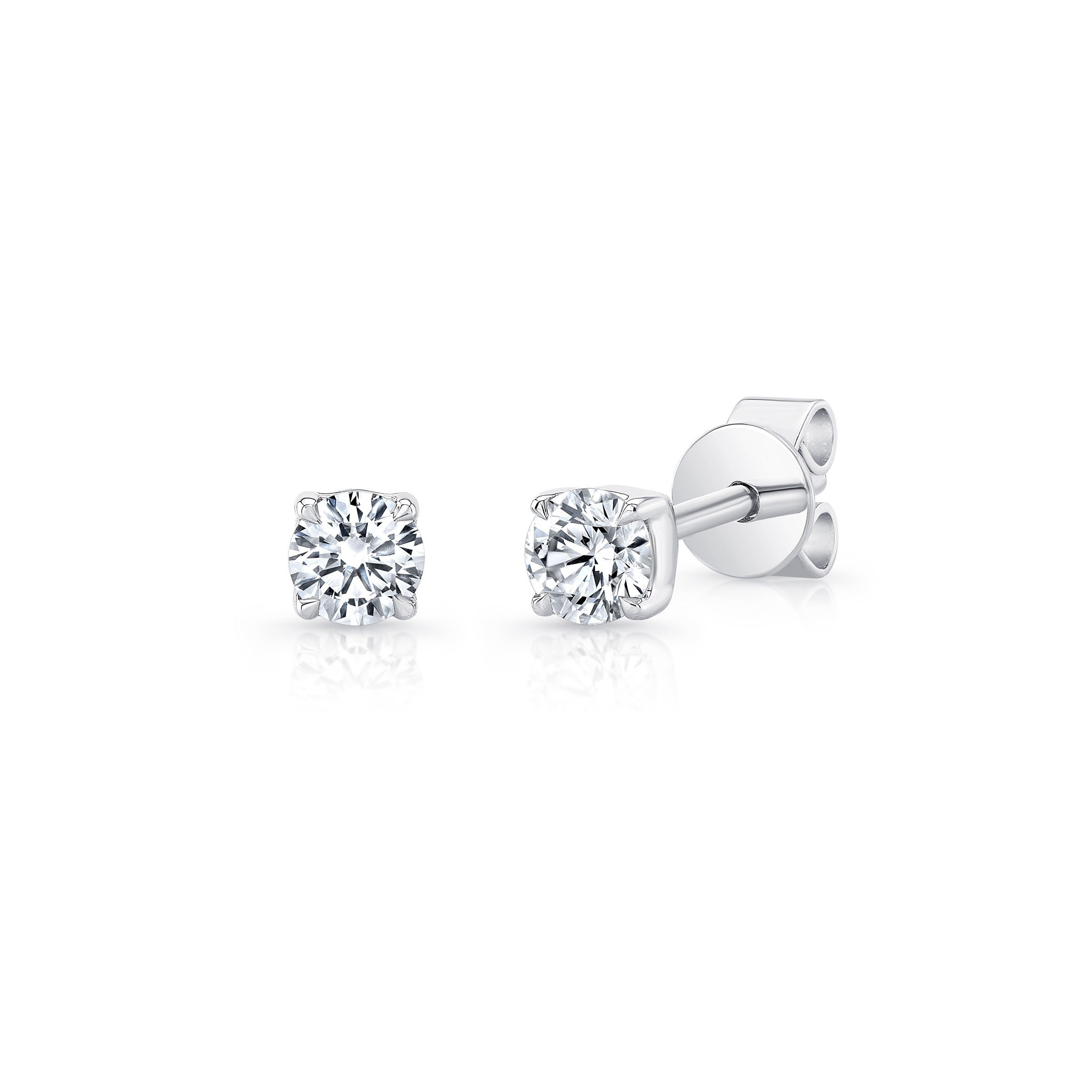 La Petite Round Brilliant Diamond Stud Earrings in 18k White Gold Side View by Oui by Jean Dousset