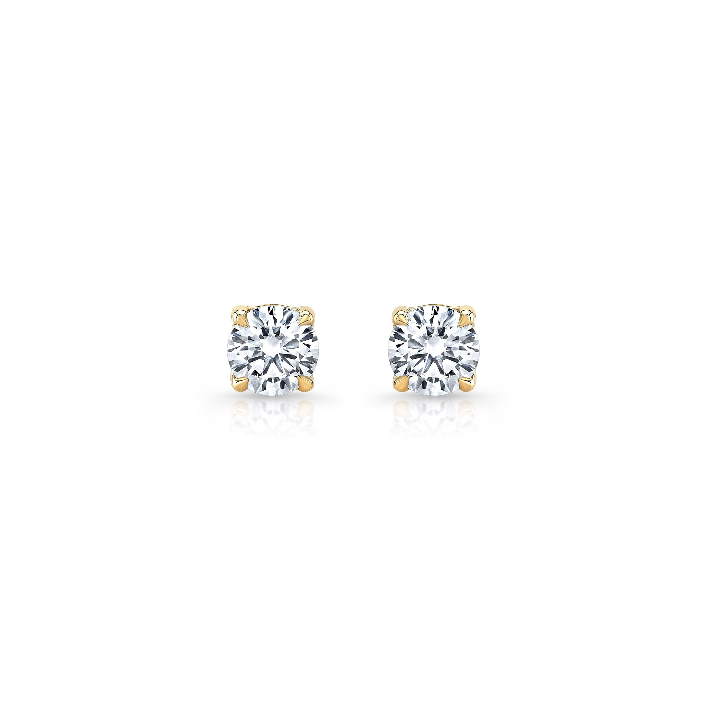 La Petite Round Brilliant Diamond Stud Earrings in 18k Yellow Gold Front View by Oui by Jean Dousset