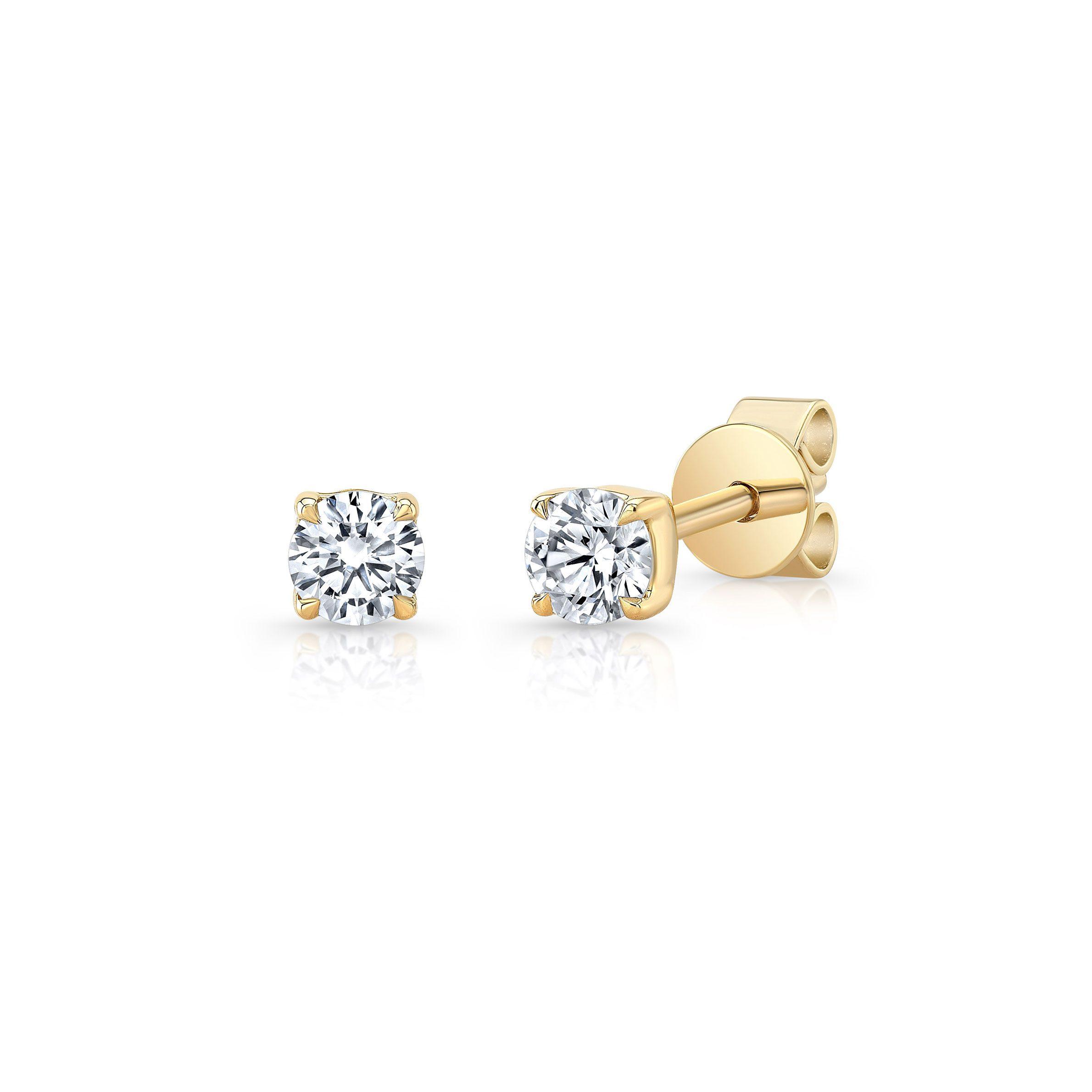 La Petite Round Brilliant Diamond Stud Earrings in 18k Yellow Gold Side View by Oui by Jean Dousset