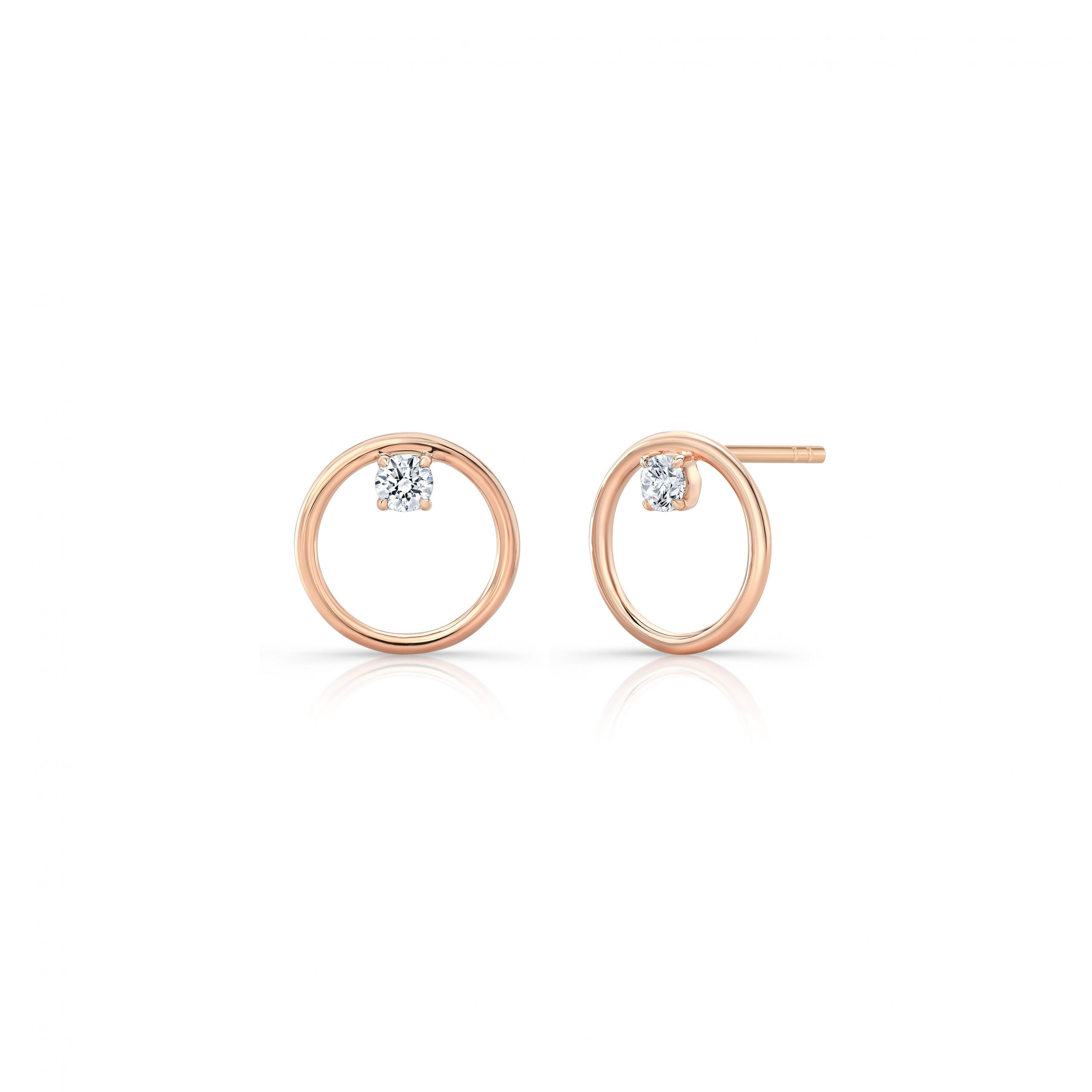 Colette Front Facing Diamond Hoop Earrings in 18k Rose Gold Side View with no backs by Oui by Jean Dousset