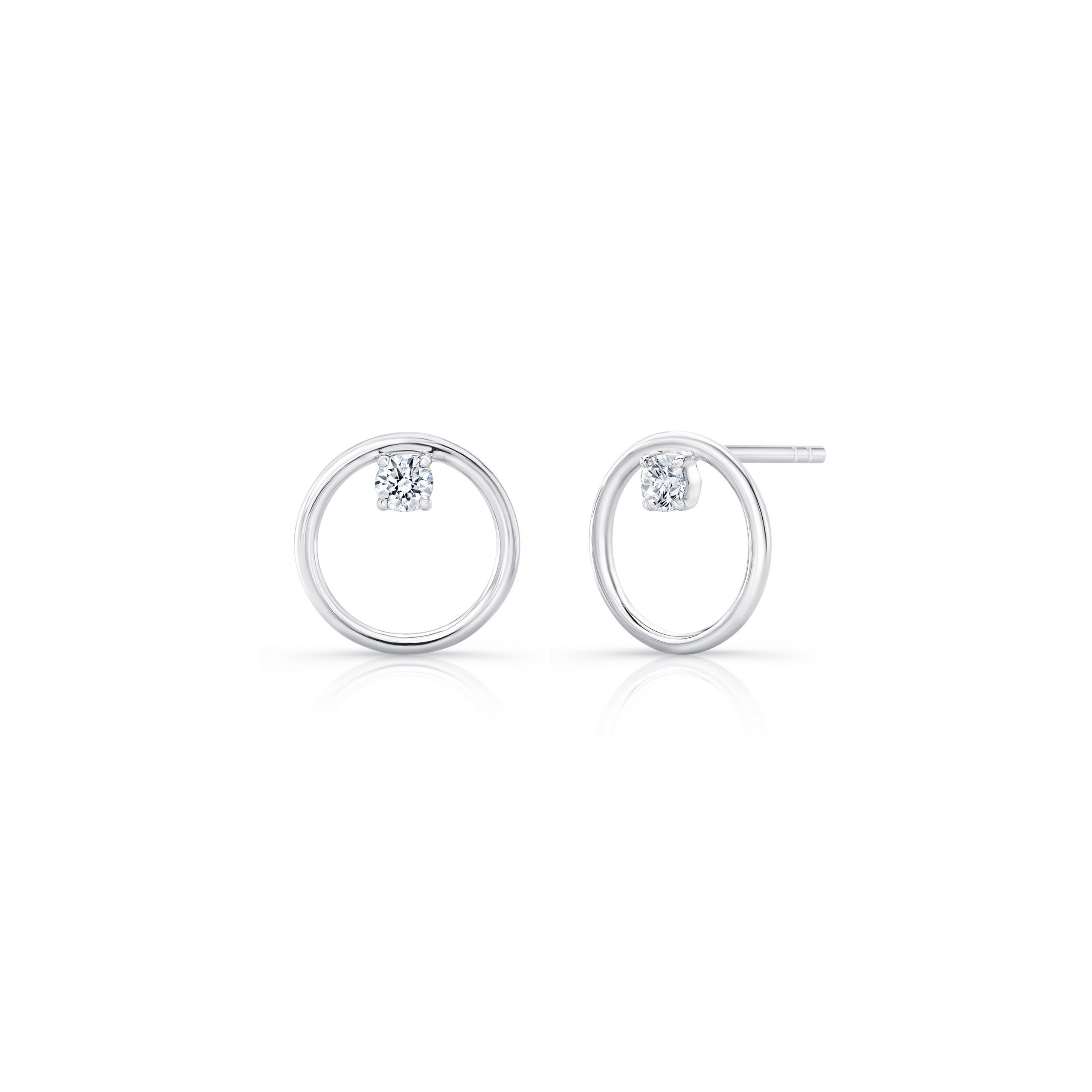 Colette Front Facing Diamond Hoop Earrings in 18k White Gold Side View with no backs by Oui by Jean Dousset