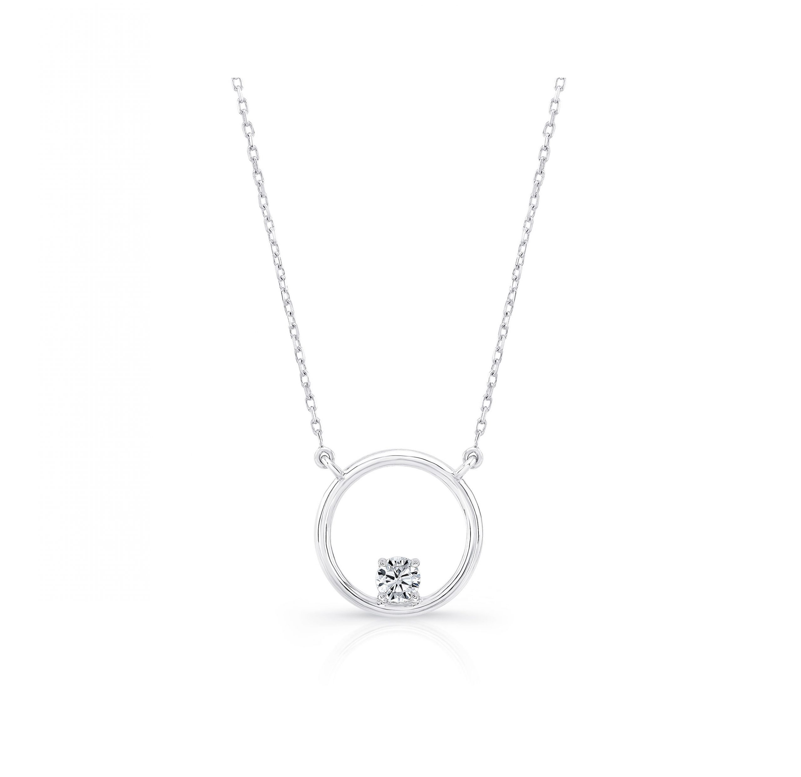 Colette Circle Diamond Necklace, round brilliant in 18k White Gold Front View by Oui by Jean Dousset