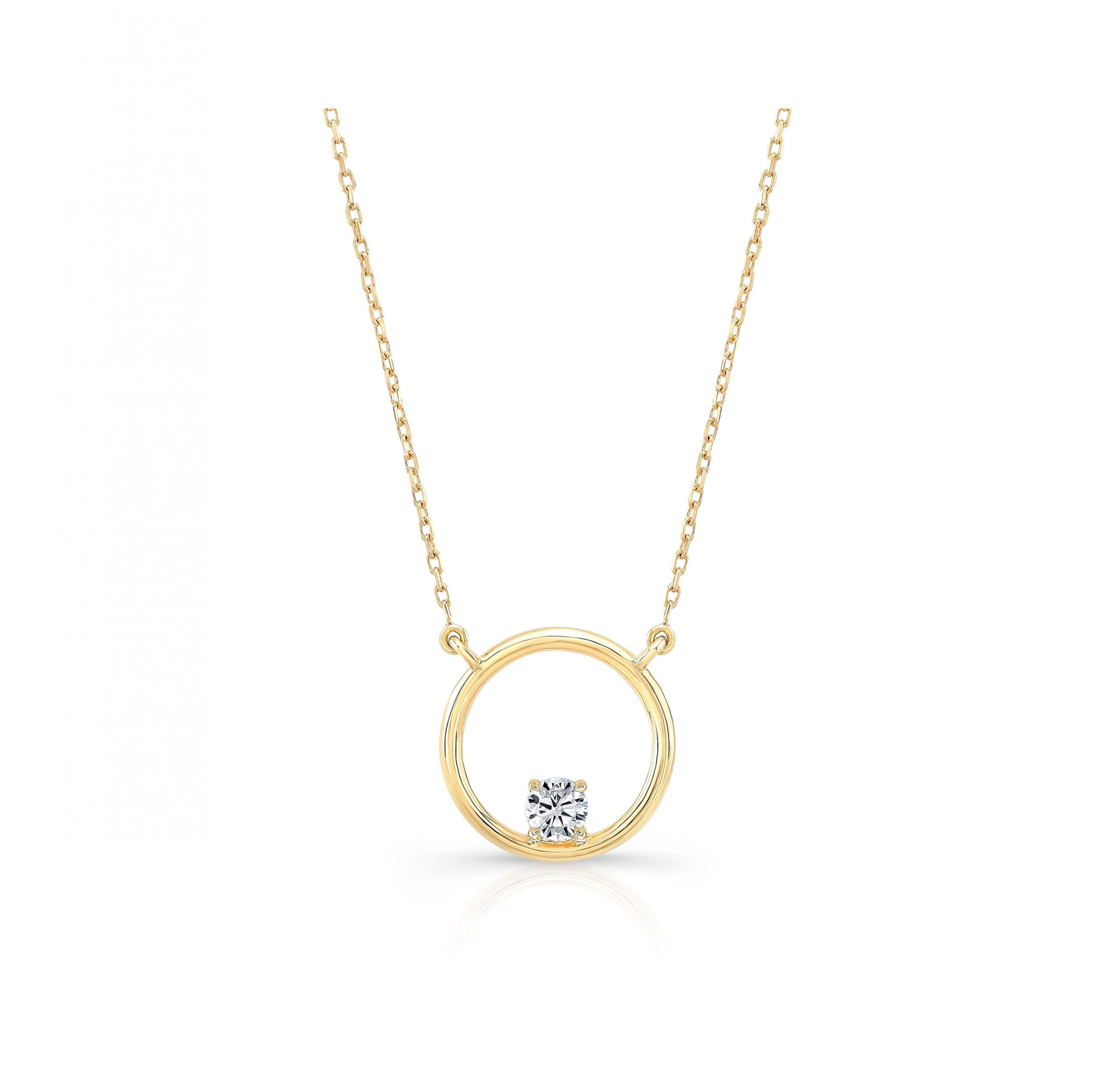 Colette Circle Diamond Necklace, round brilliant in 18k Yellow Gold Front View by Oui by Jean Dousset