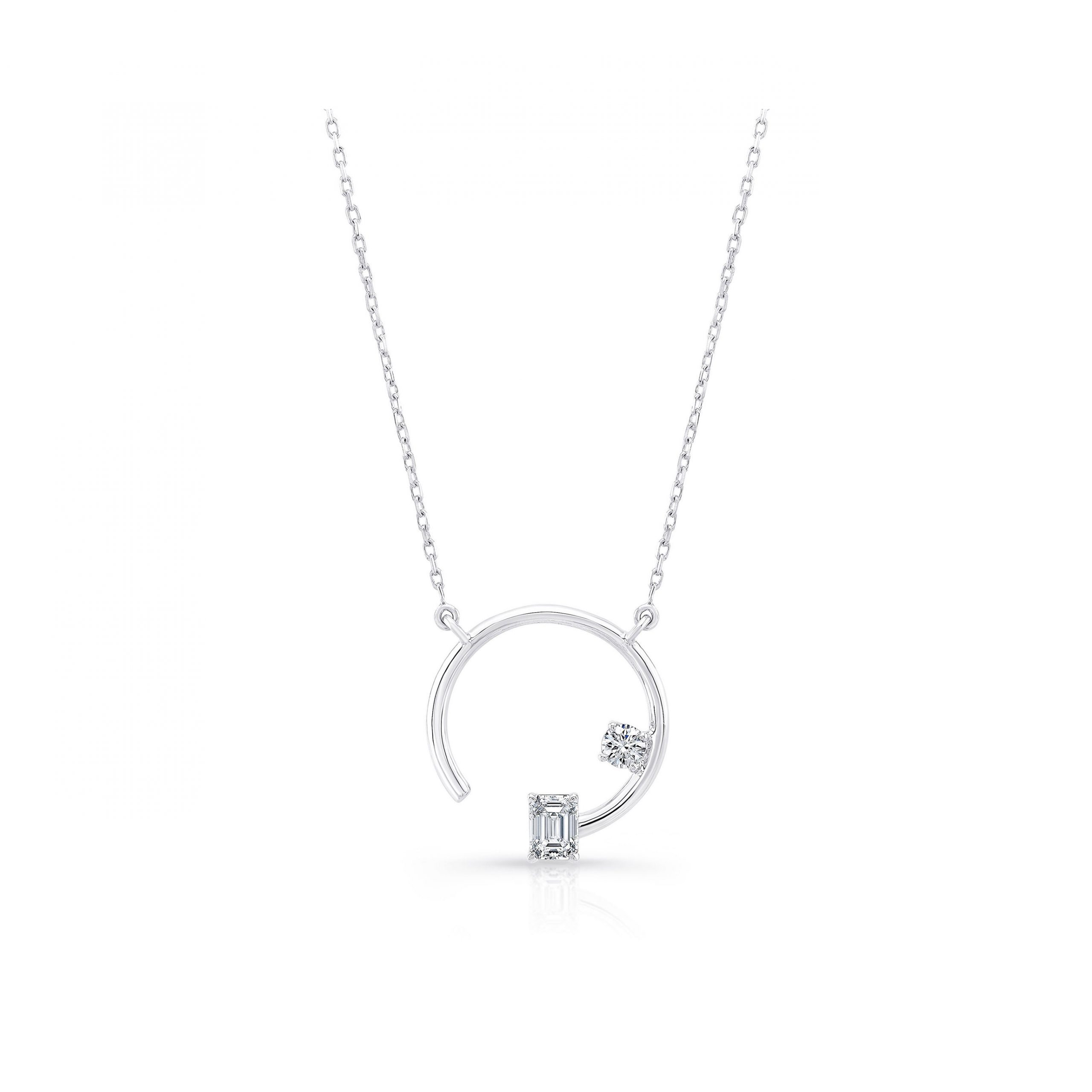 Celeste Mixed Diamond Asymmetric Necklace, emerald & round brilliant in 18k White Gold Front View by Oui by Jean Dousset