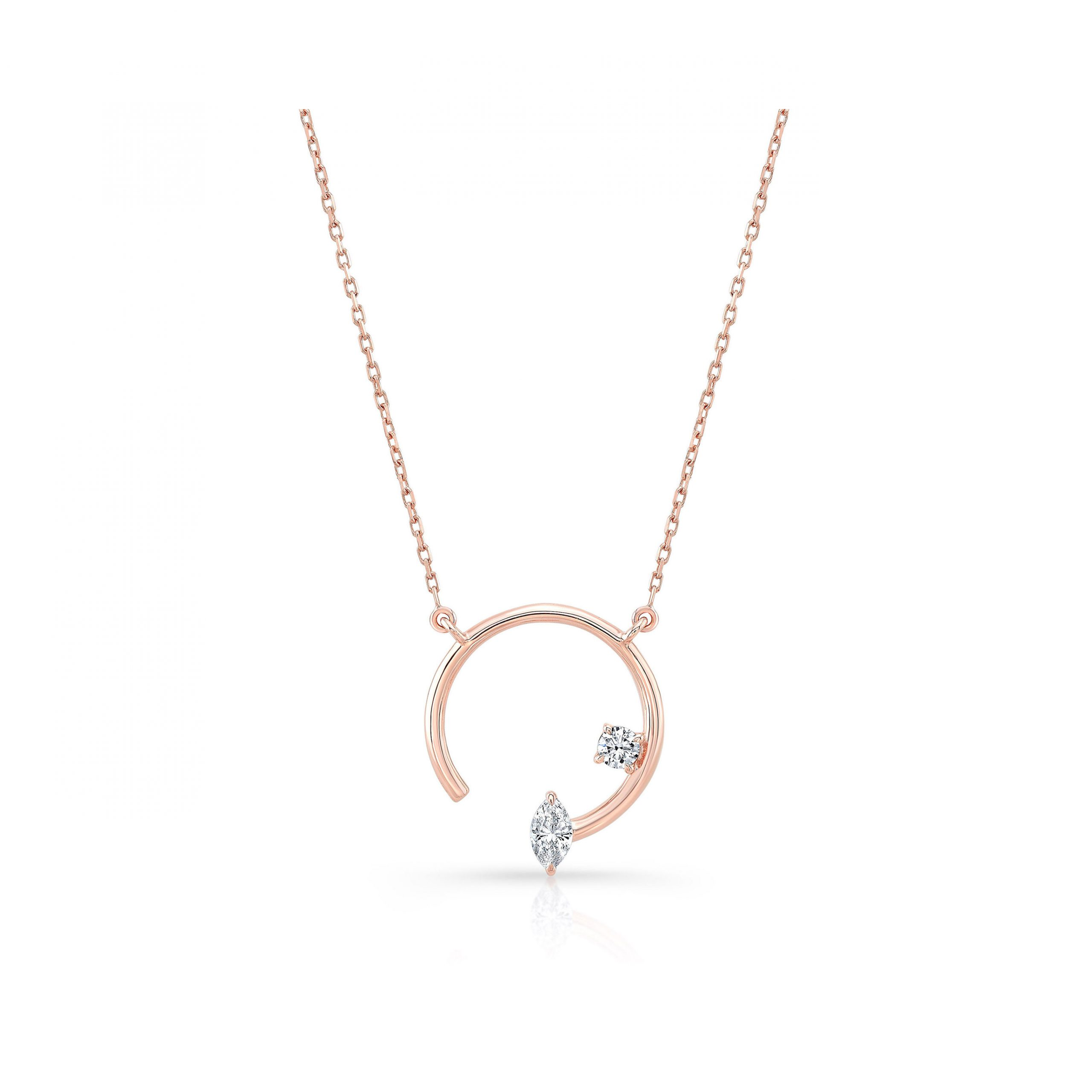 Celeste Mixed Diamond Asymmetric Necklace, marquise & round brilliant in 18k Rose Gold Front View by Oui by Jean Dousset
