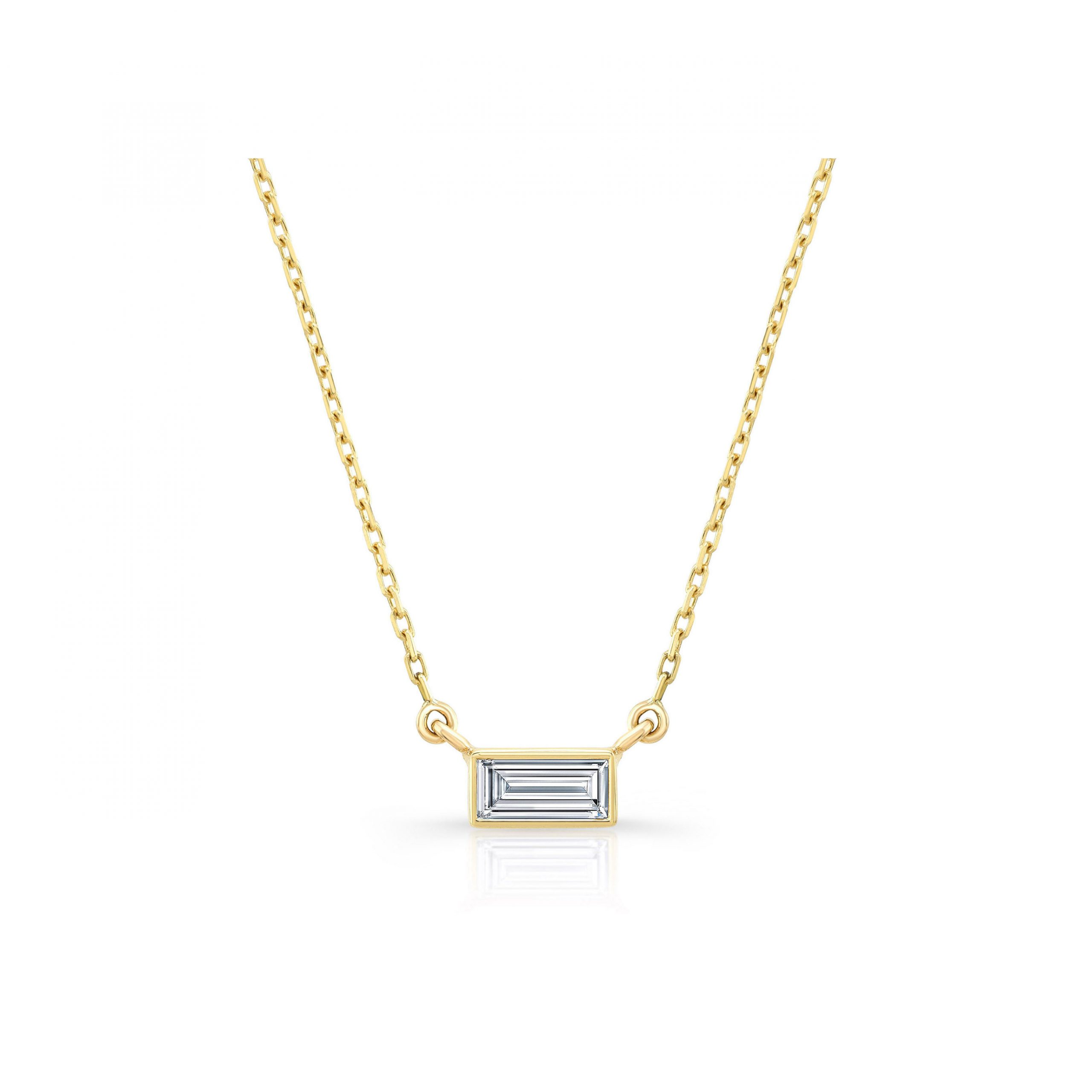La Petite Baguette Bezel Diamond Necklace in 18k Yellow Gold Front View by Oui by Jean Dousset