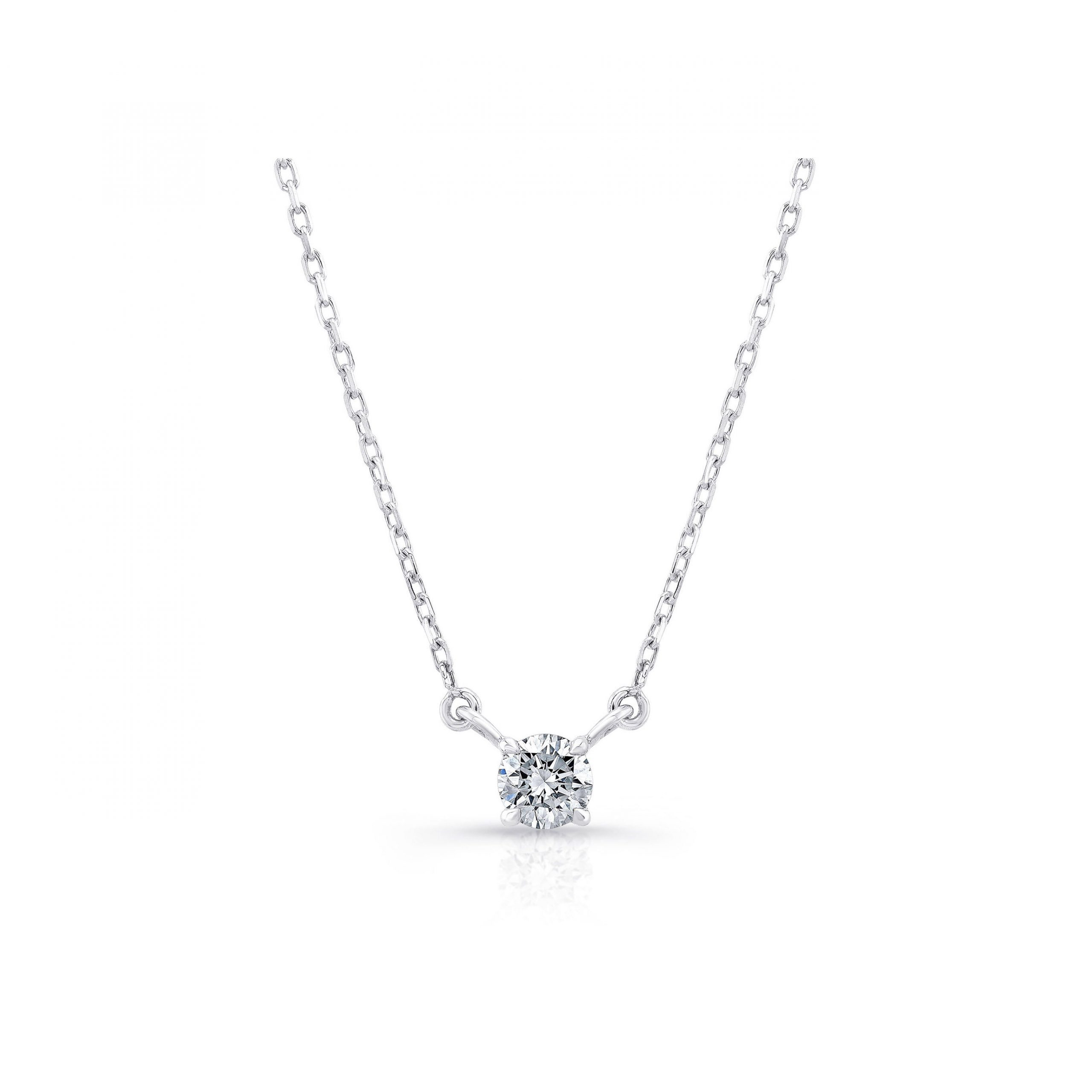 La Petite Round Brilliant Diamond Necklace in 18k White Gold Front View by Oui by Jean Dousset