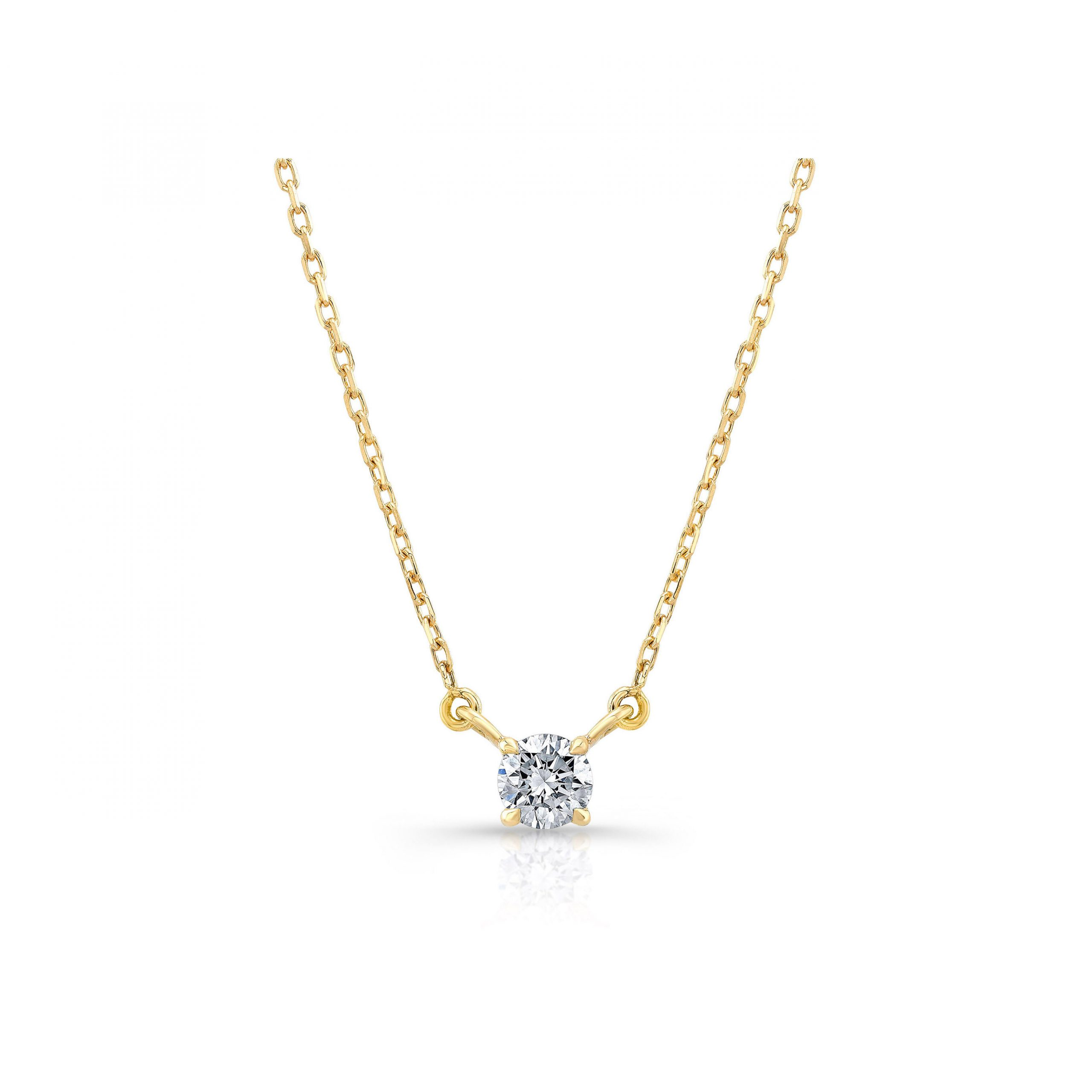 La Petite Round Brilliant Diamond Necklace in 18k Yellow Gold Front View by Oui by Jean Dousset