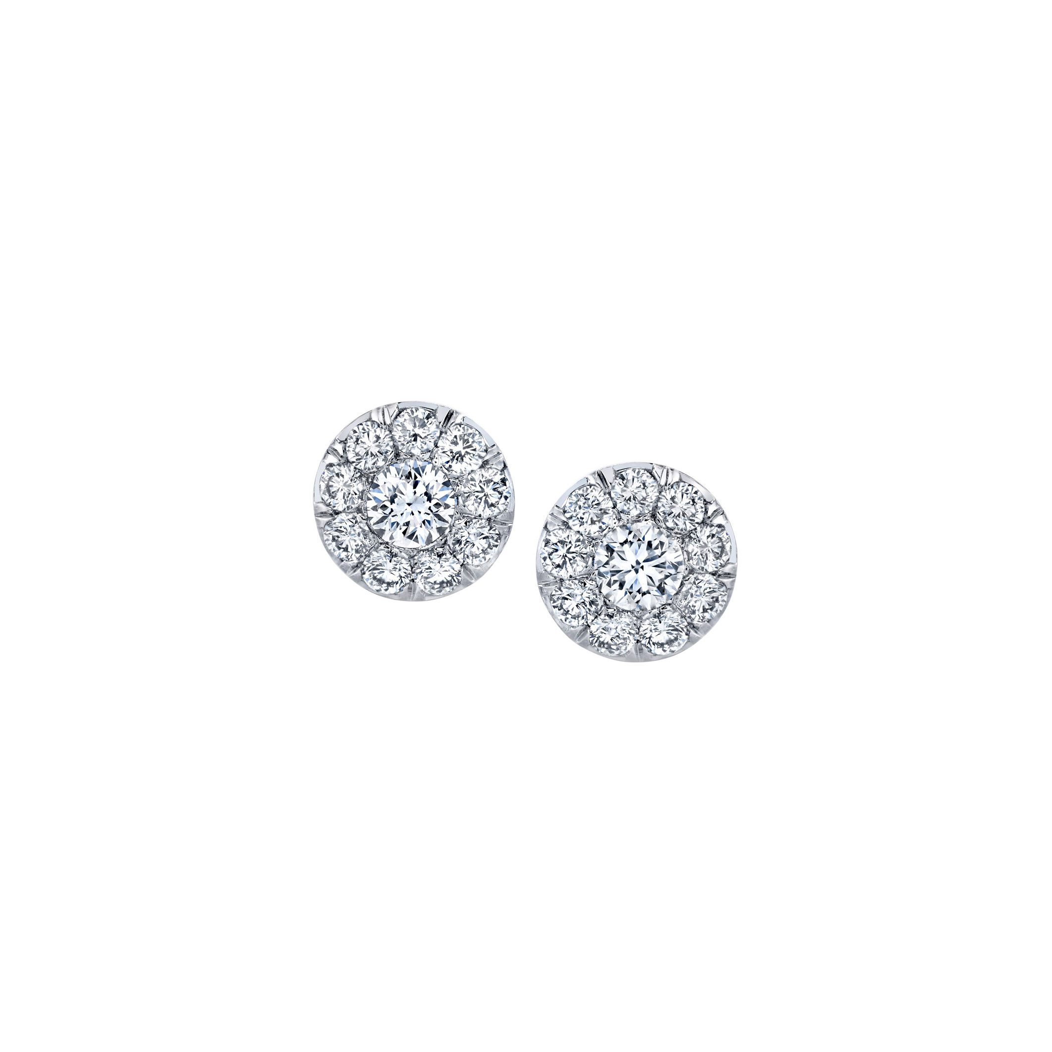 Lucile Round Brilliant Seamless Solitaire® Diamond Stud Earrings in 18k White Gold Front View by Oui by Jean Dousset