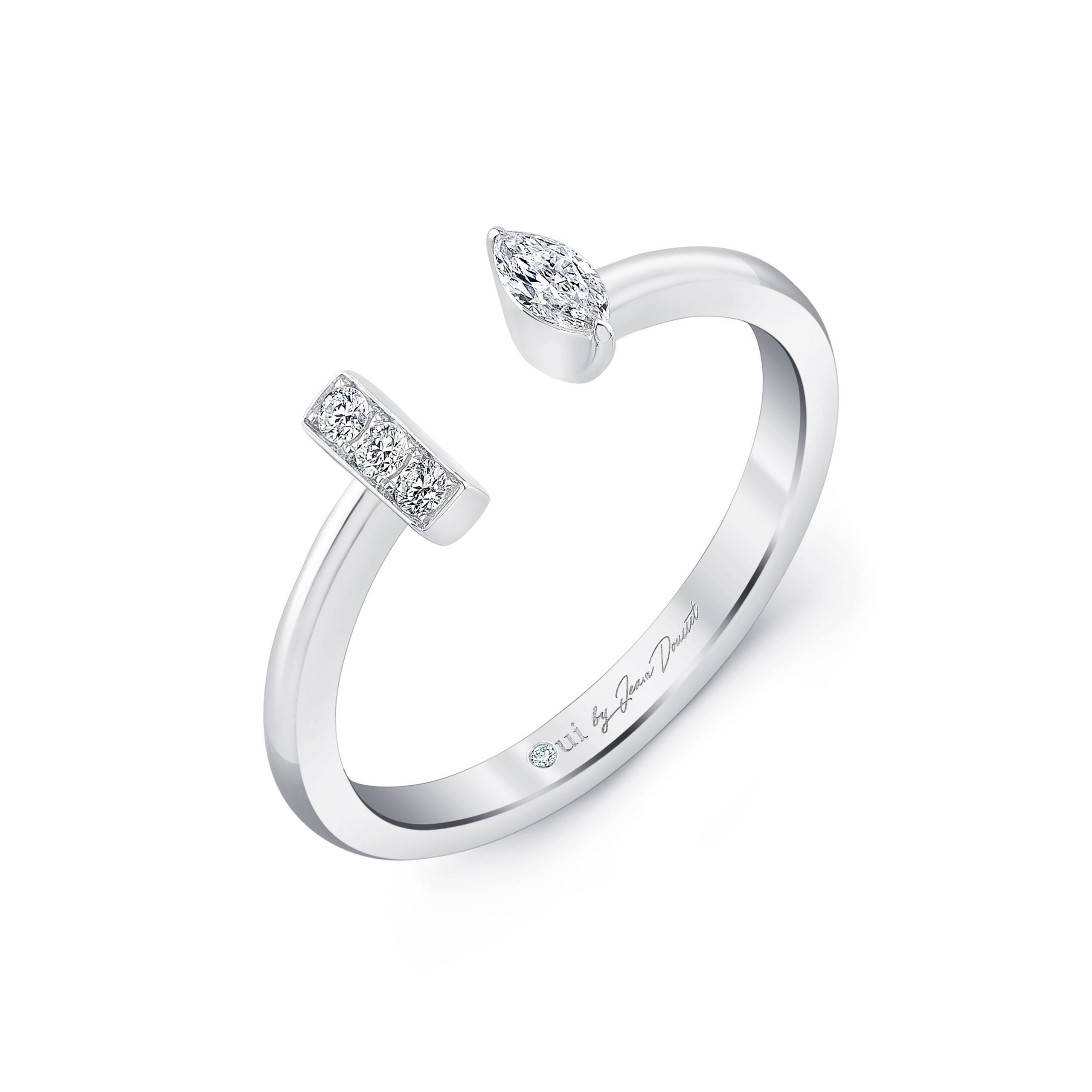 Celeste Mixed Diamond Pavé Bar Open Ring, marquise in 18k White Gold Profile View by Oui by Jean Dousset