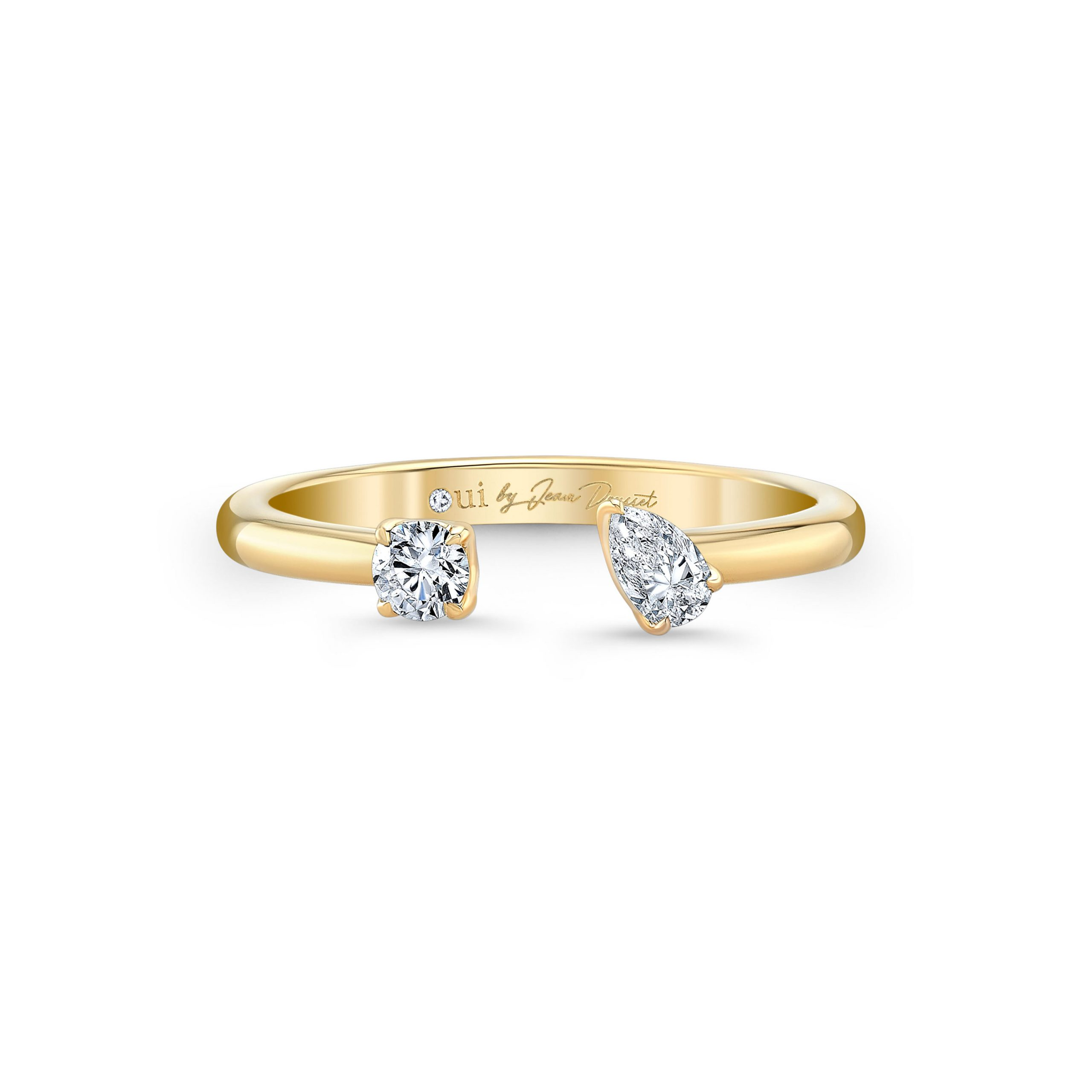 Celeste Mixed Diamond Open Ring, round brilliant & pear in 18k Yellow Gold Front View by Oui by Jean Dousset