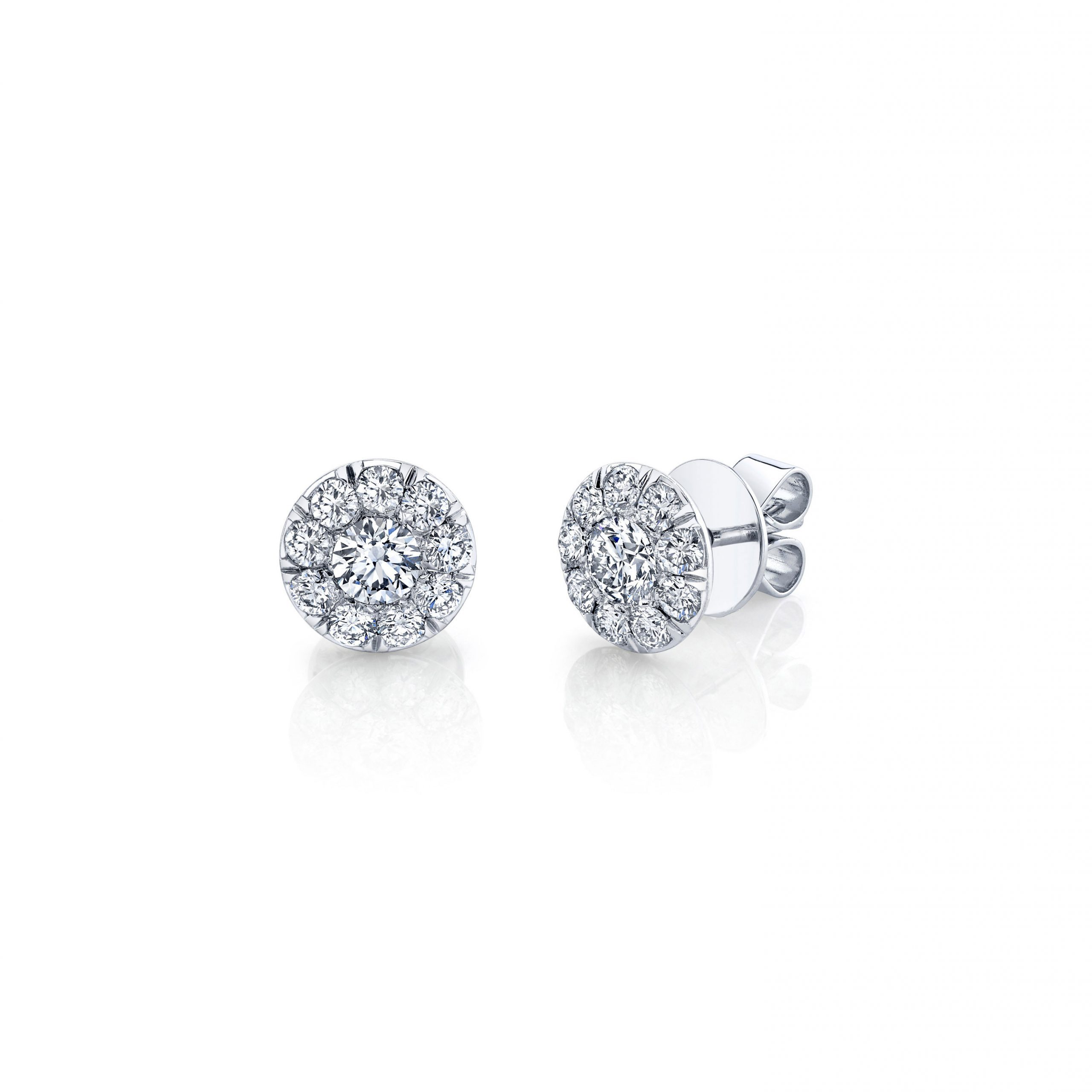 Lucile Round Brilliant Seamless Solitaire® Diamond Stud Earrings in 18k White Gold Side View by Oui by Jean Dousset