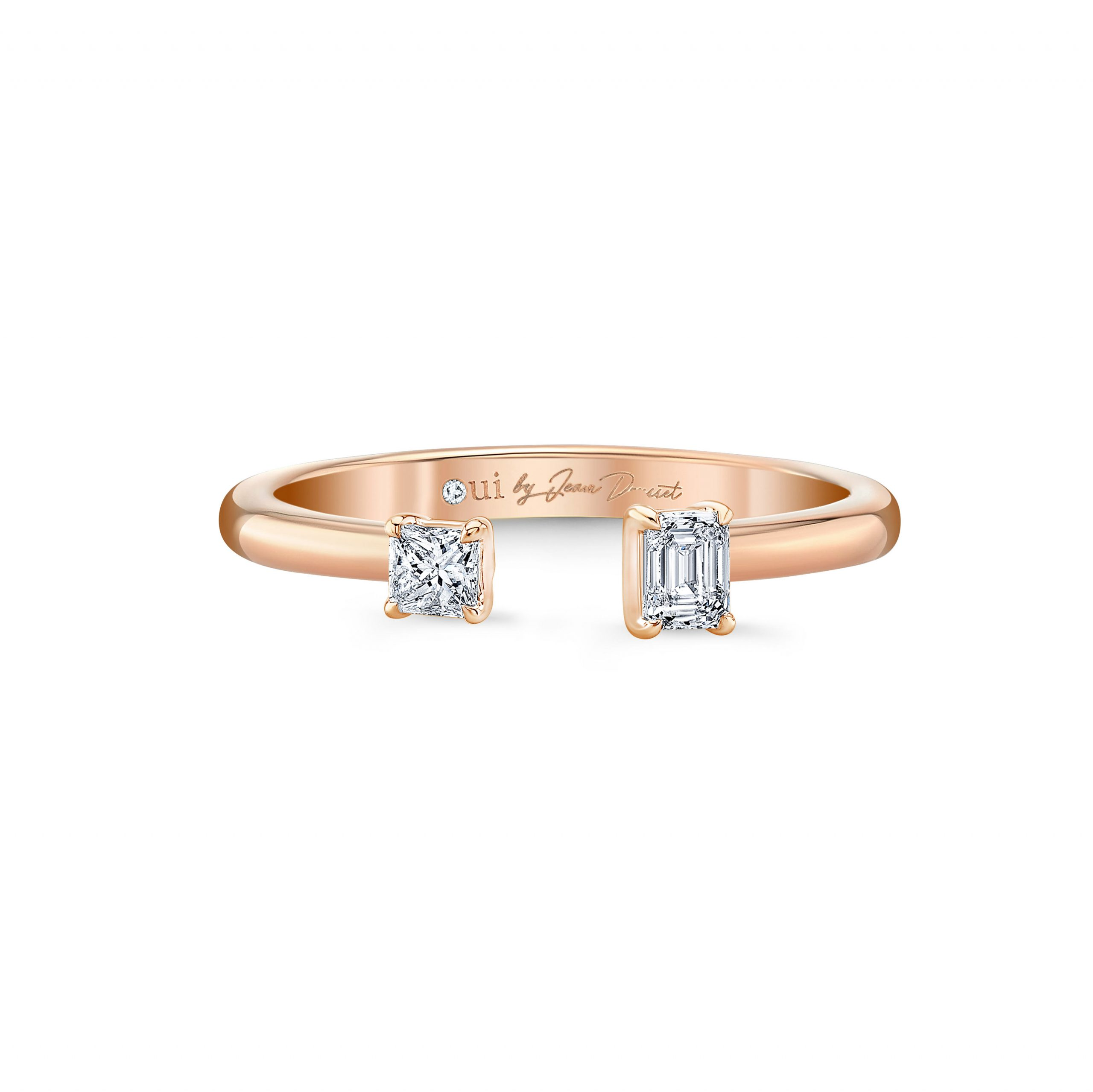 Celeste Mixed Diamond Open Ring, princess & emerald in 18k Rose Gold Front View by Oui by Jean Dousset