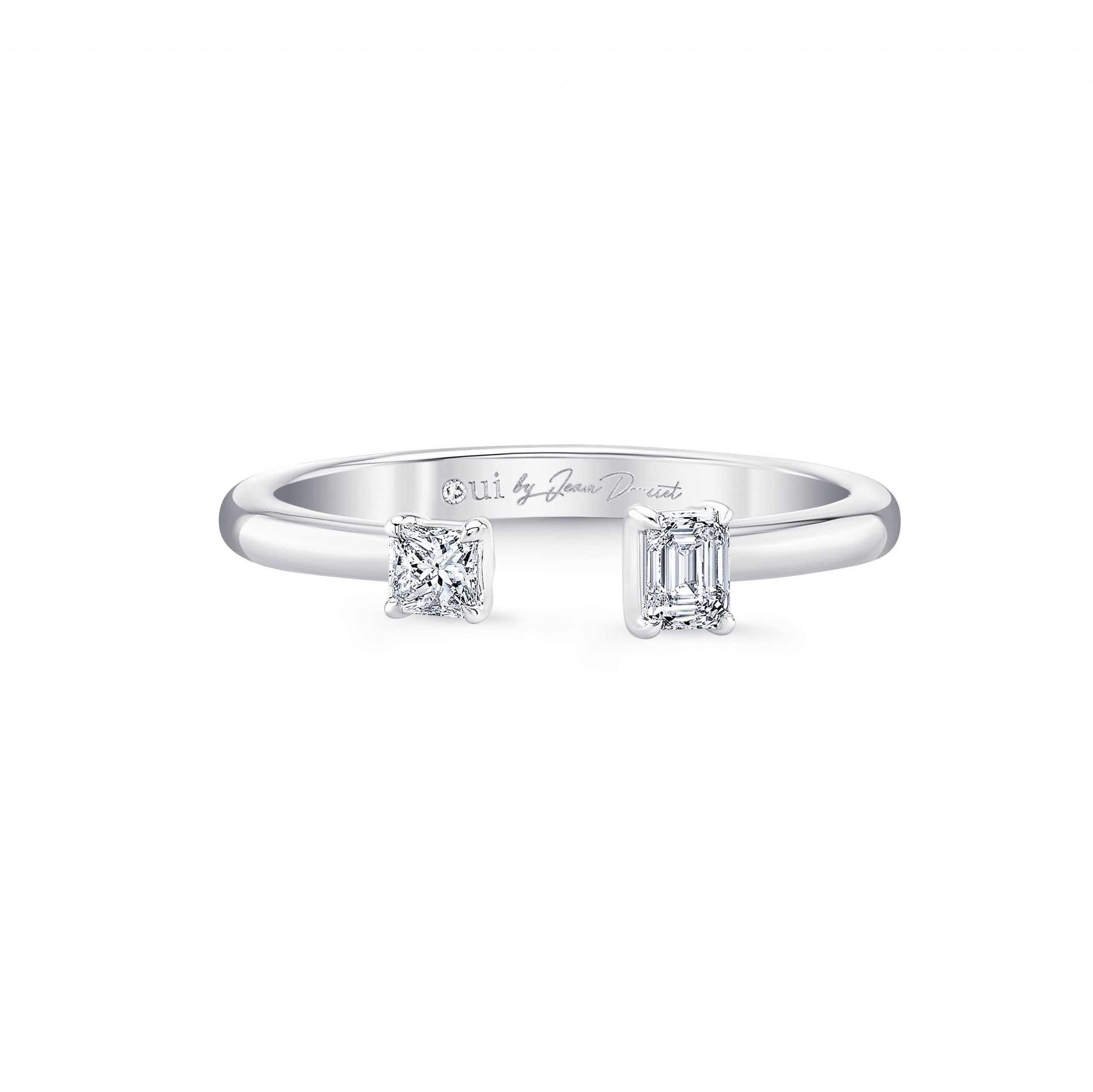 Celeste Mixed Diamond Open Ring, princess & emerald in 18k White Gold Front View by Oui by Jean Dousset