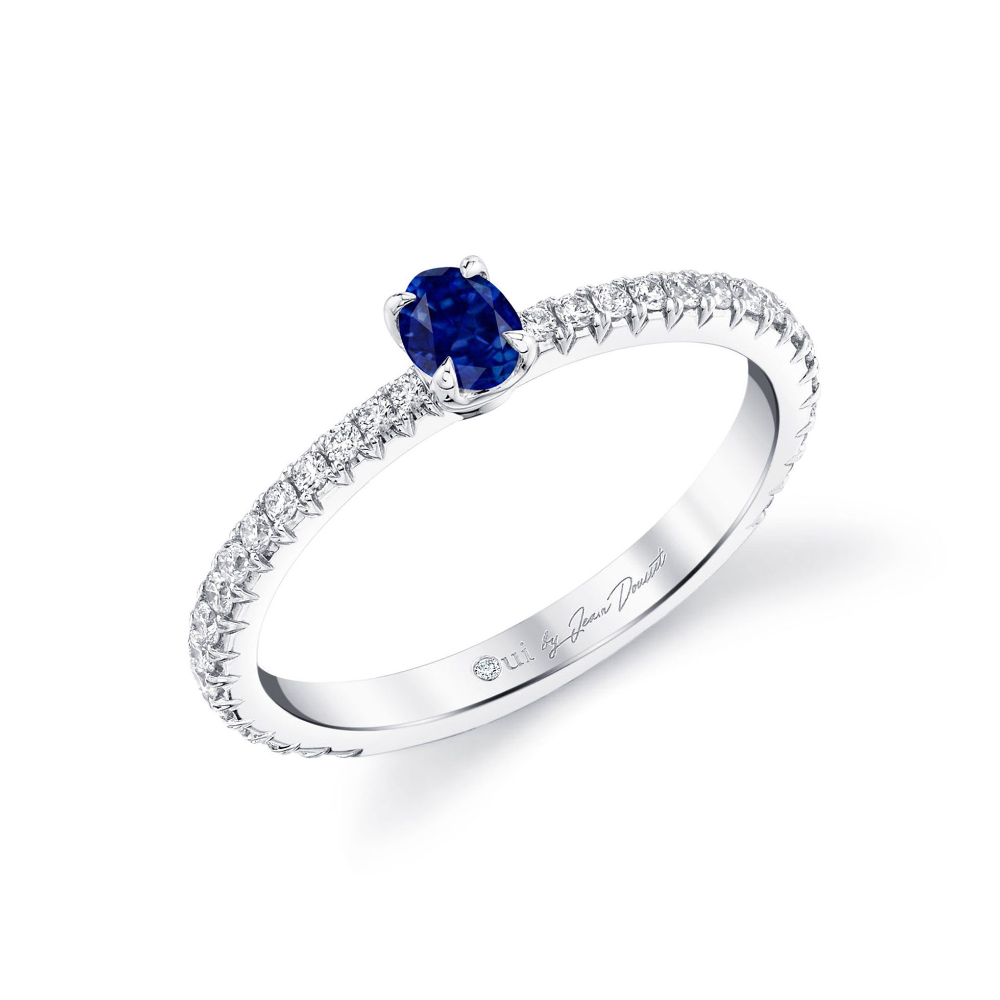 La Petite Oval Blue Sapphire Ring diamond pavé band in 18k White Gold Profile View by Oui by Jean Dousset