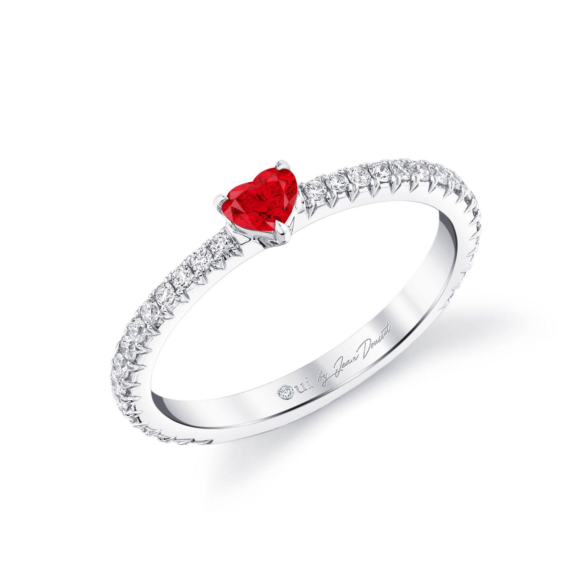 La Petite Heart Ruby Ring diamond pavé band in 18k White Gold Profile View by Oui by Jean Dousset