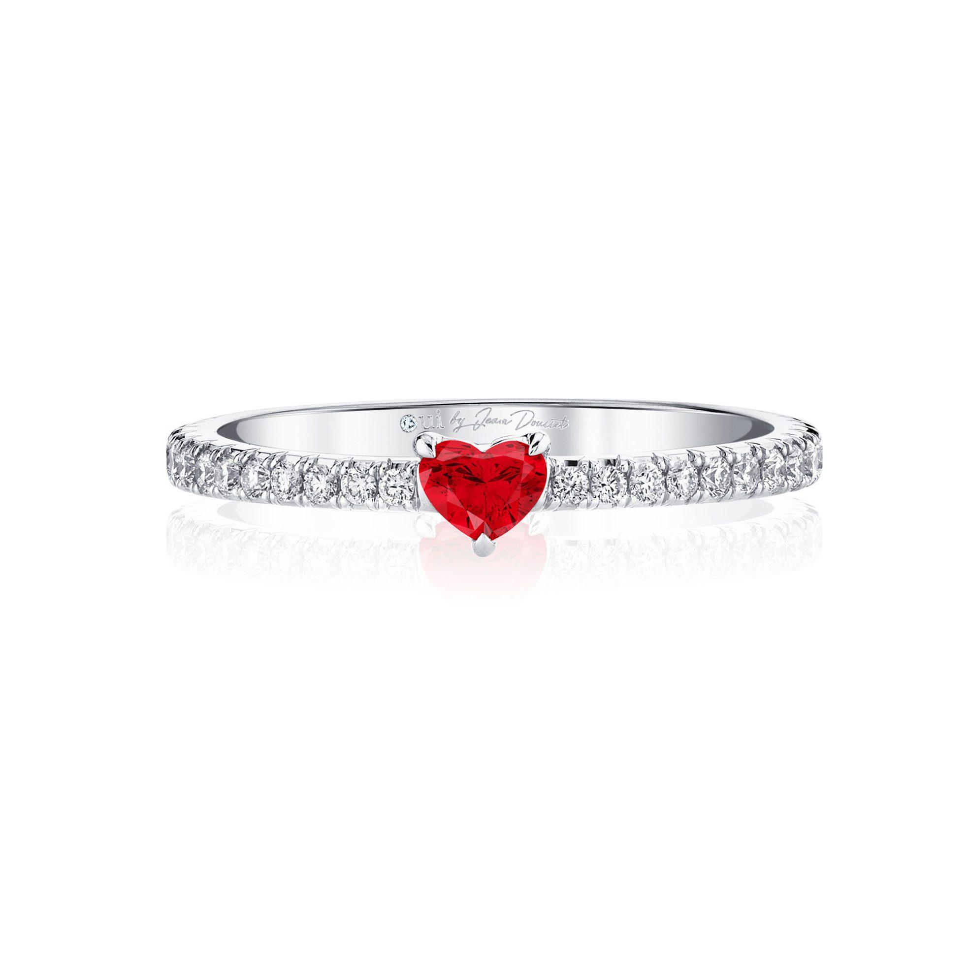 La Petite Heart Ruby Ring diamond pavé band in 18k White Gold Front View by Oui by Jean Dousset