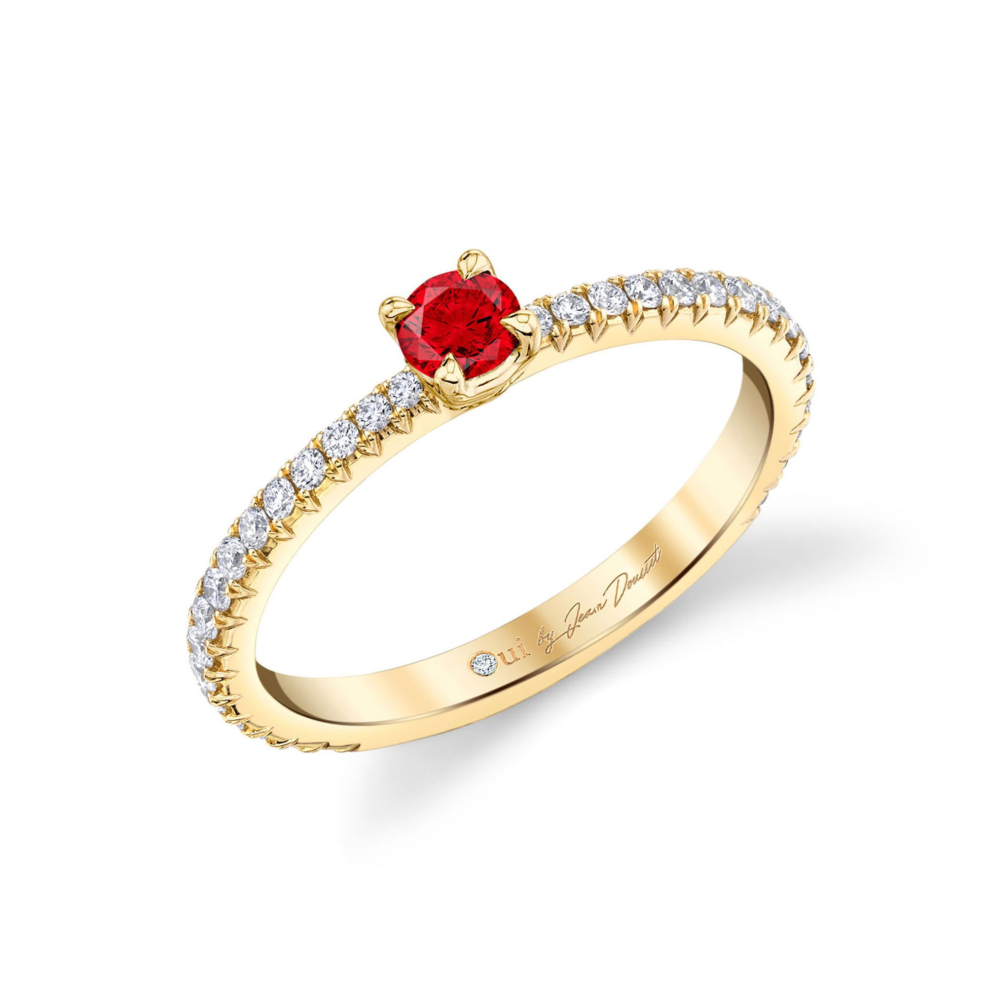La Petite Round Brilliant Ruby Ring diamond pavé band in 18k Yellow Gold Profile View by Oui by Jean Dousset