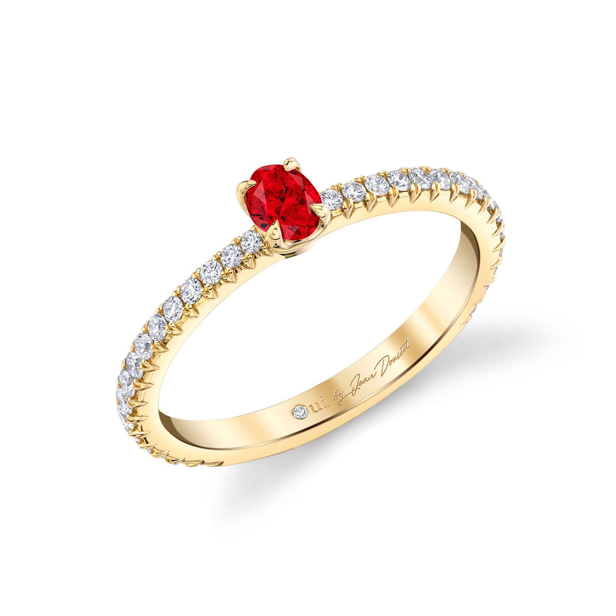 La Petite Oval Ruby Ring diamond pavé band in 18k Yellow Gold Profile View by Oui by Jean Dousset