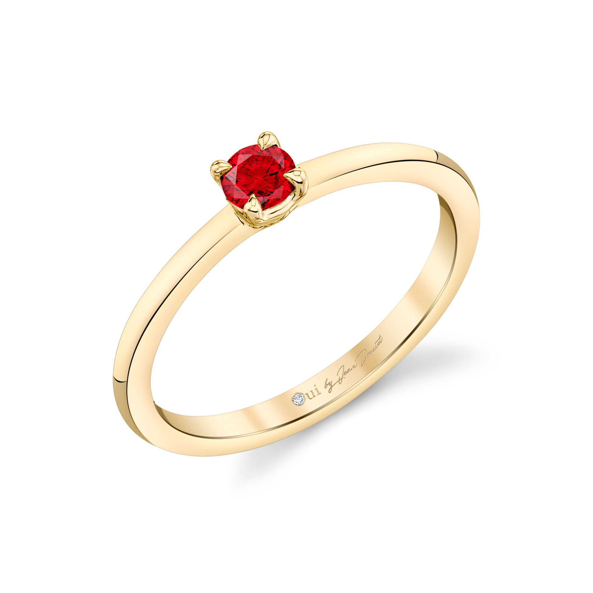 La Petite Round Brilliant Ruby Ring in 18k Yellow Gold Profile View by Oui by Jean Dousset